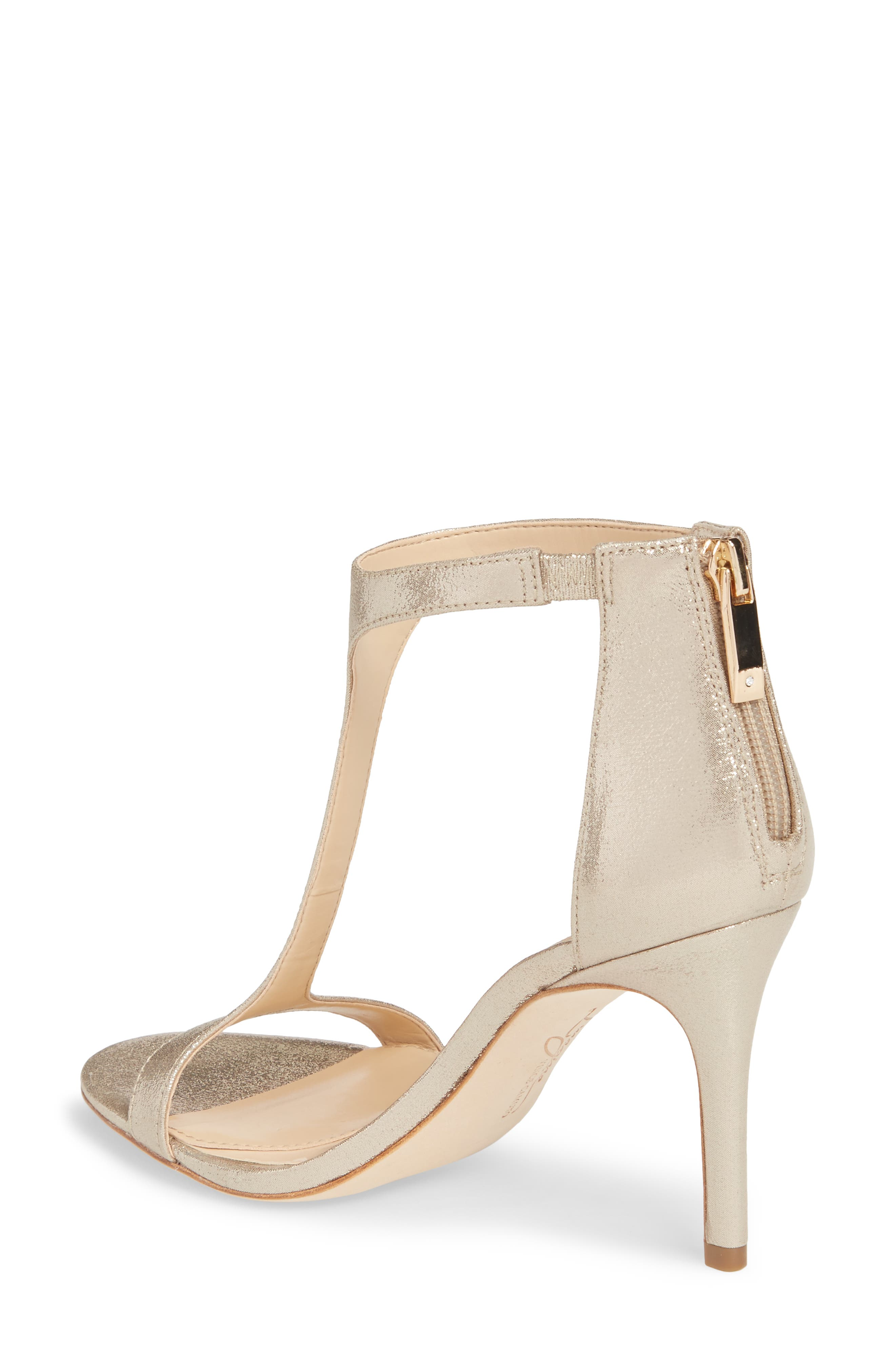 'Phoebe' Embellished T-Strap Sandal,                             Alternate thumbnail 2, color,                             Gold Satin