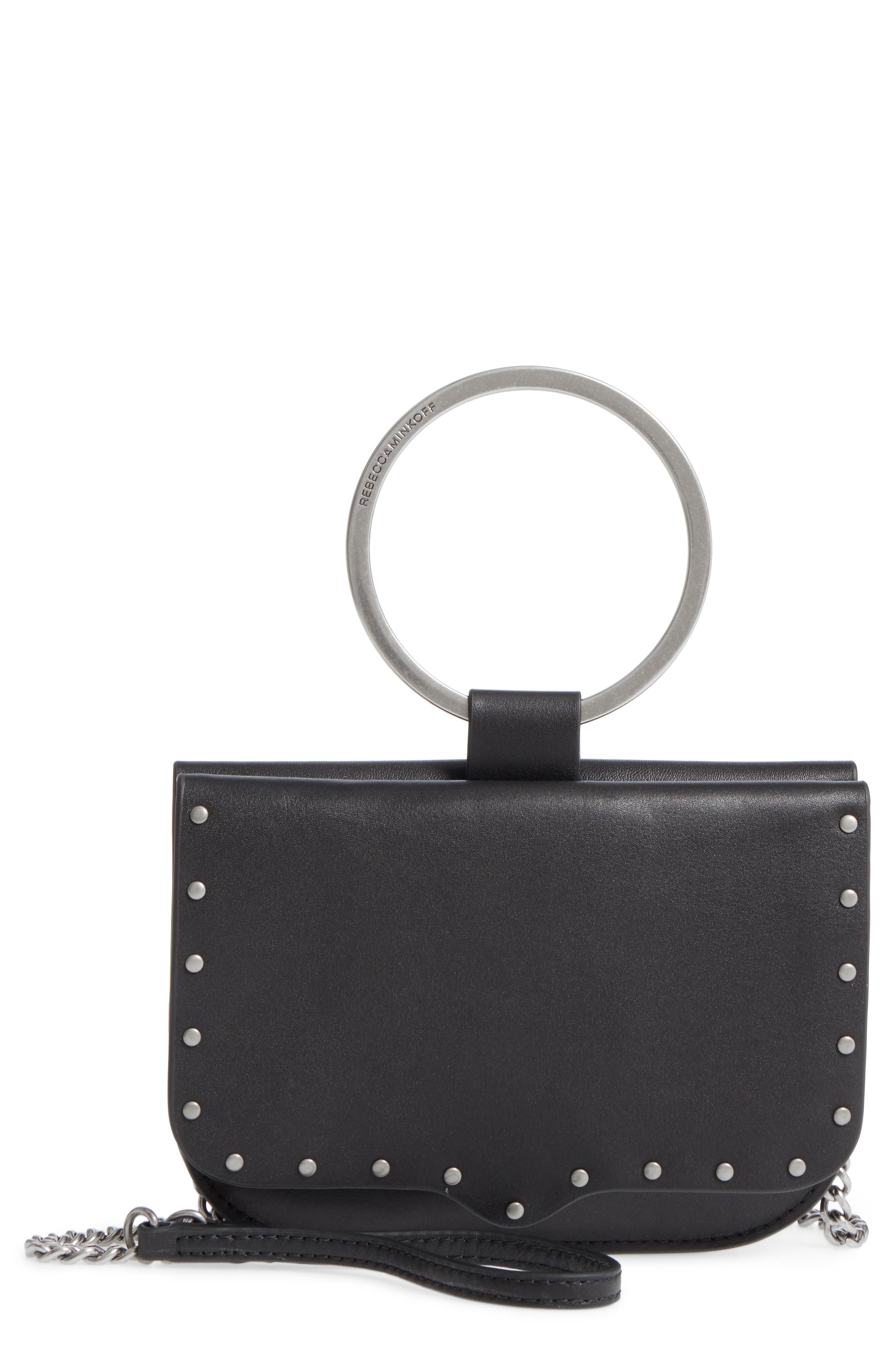 Ring Leather Crossbody Bag,                         Main,                         color, Black