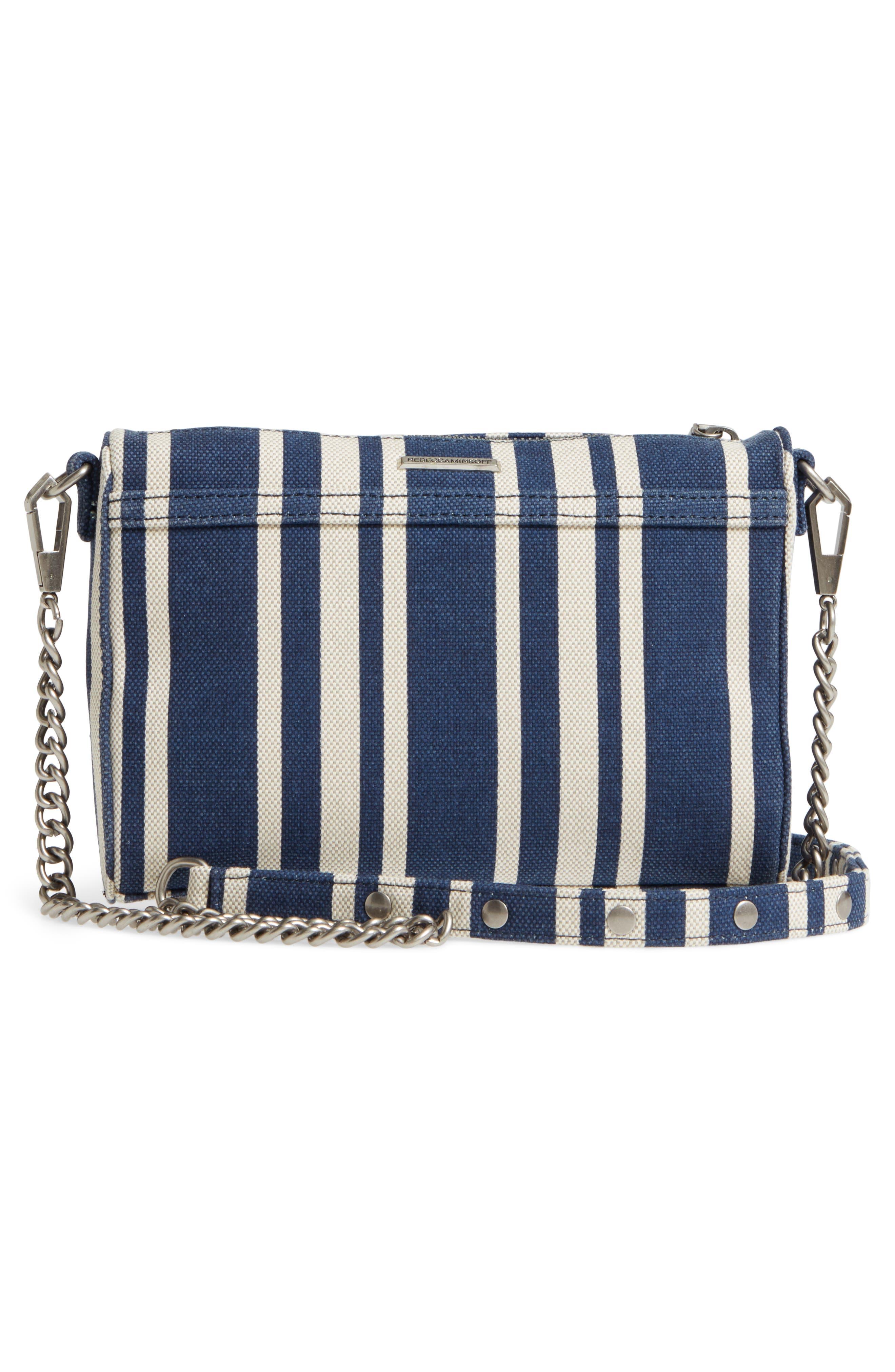 Mini MAC Stripe Canvas Convertible Crossbody Bag,                             Alternate thumbnail 3, color,                             Navy Stripe