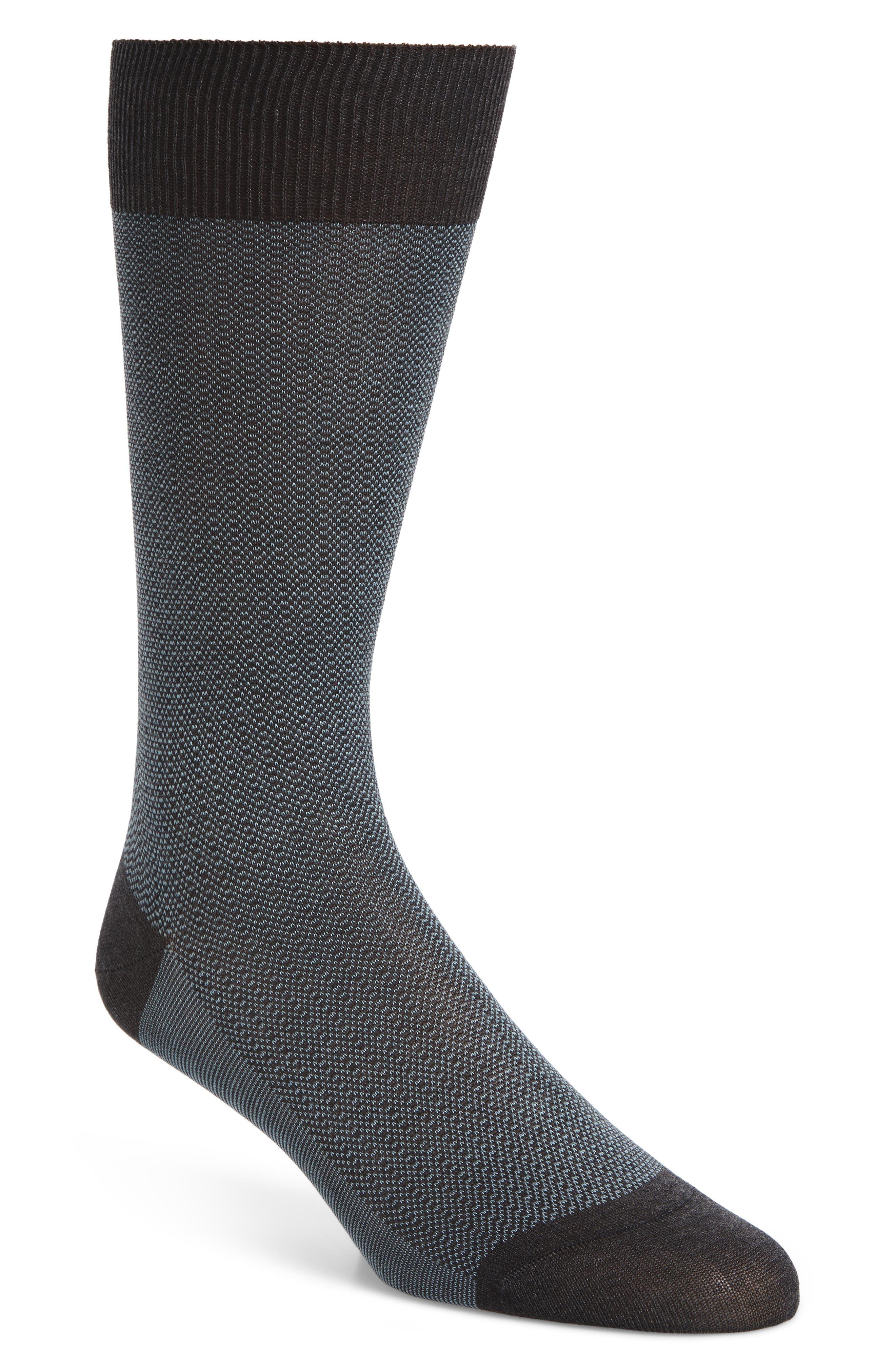 Birdseye Stripe Socks,                             Main thumbnail 1, color,                             Dark Grey
