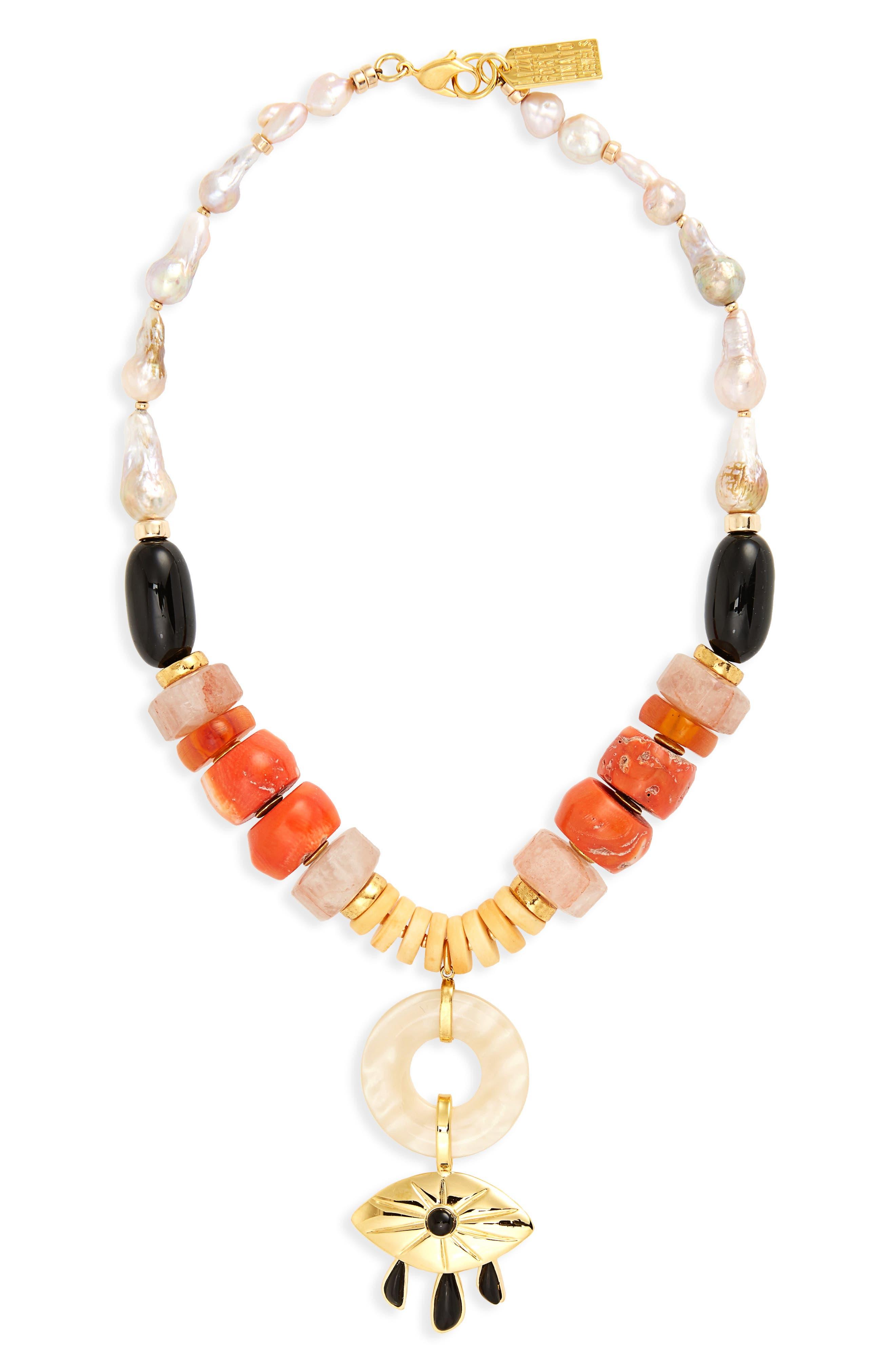 Capri Beaded Necklace,                         Main,                         color, Gold Multi