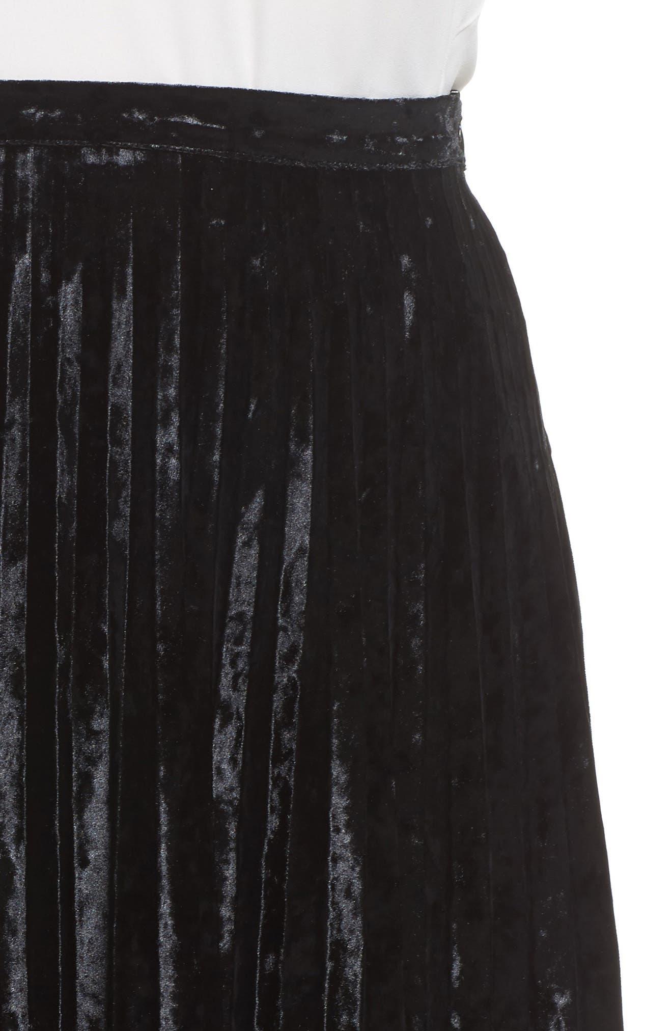 Velvet Pleat Skirt,                             Alternate thumbnail 5, color,                             Black Velvet