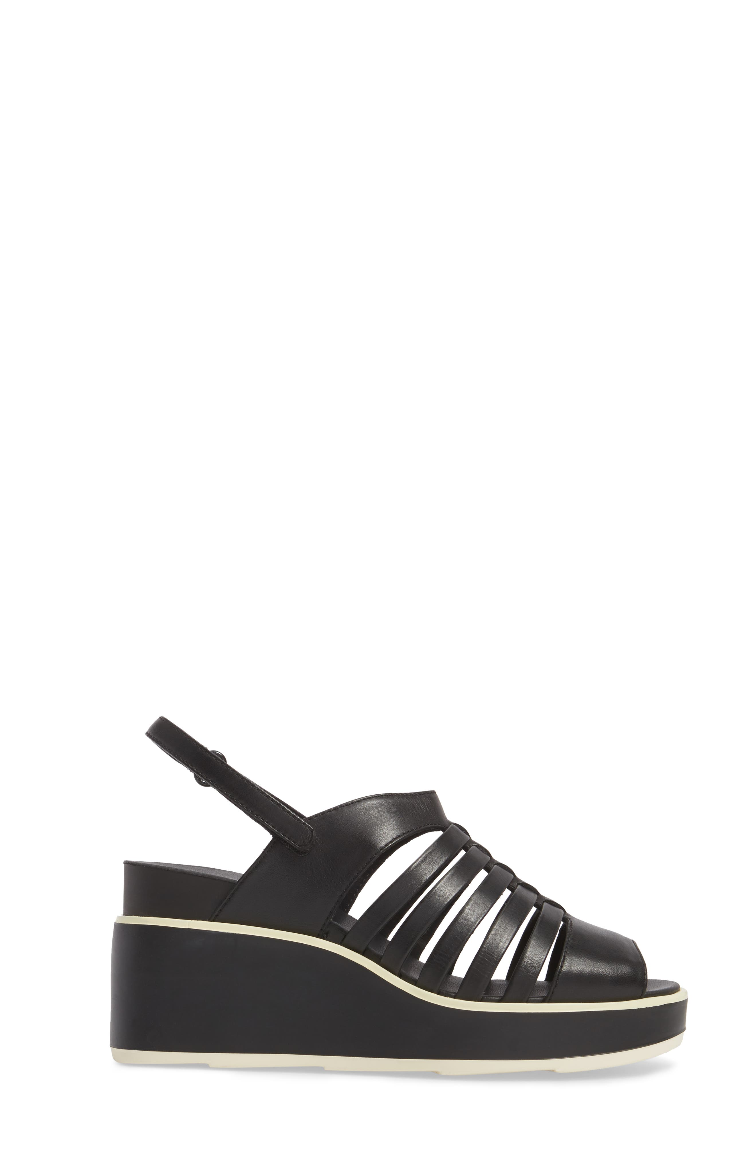 Tropik Strappy Wedge Sandal,                             Alternate thumbnail 3, color,                             Black Leather
