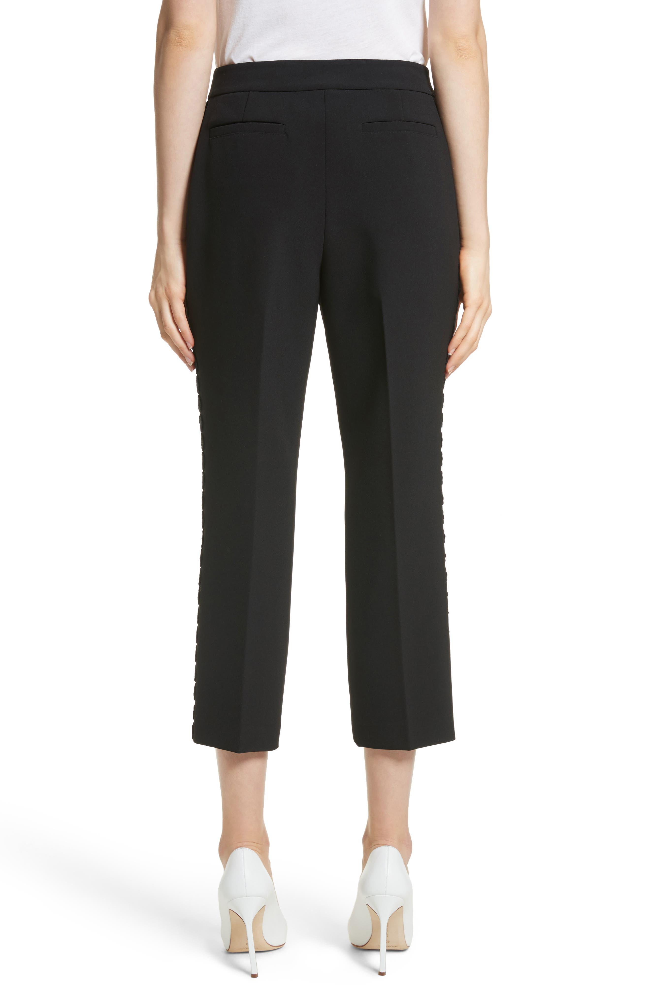 lace trim crop cigarette pants,                             Alternate thumbnail 2, color,                             Black