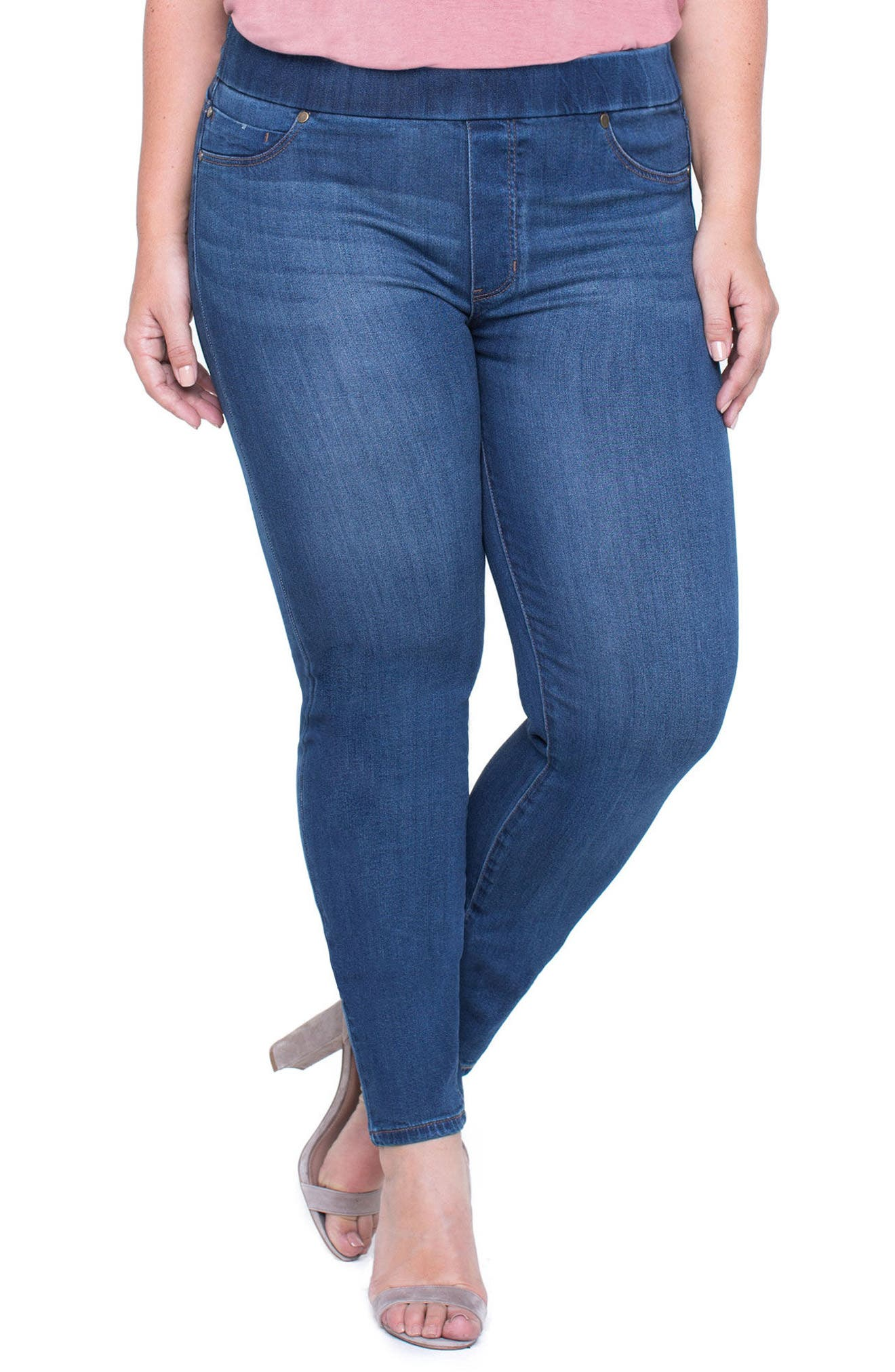 Alternate Image 1 Selected - Liverpool Jeans Company Sienna Knit Denim Leggings (Plus Size)
