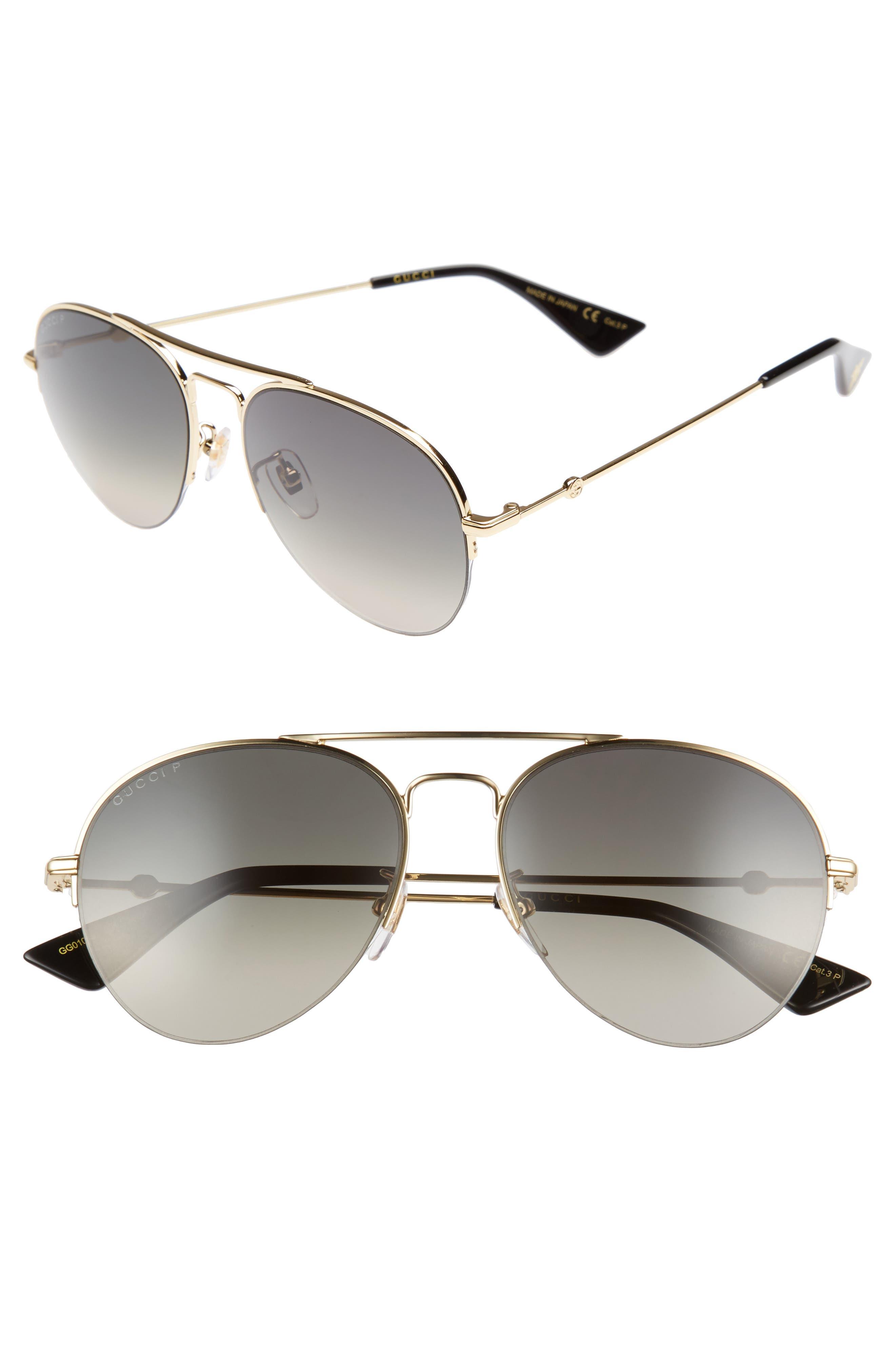 Gucci Pilot 56mm Aviator Sunglasses