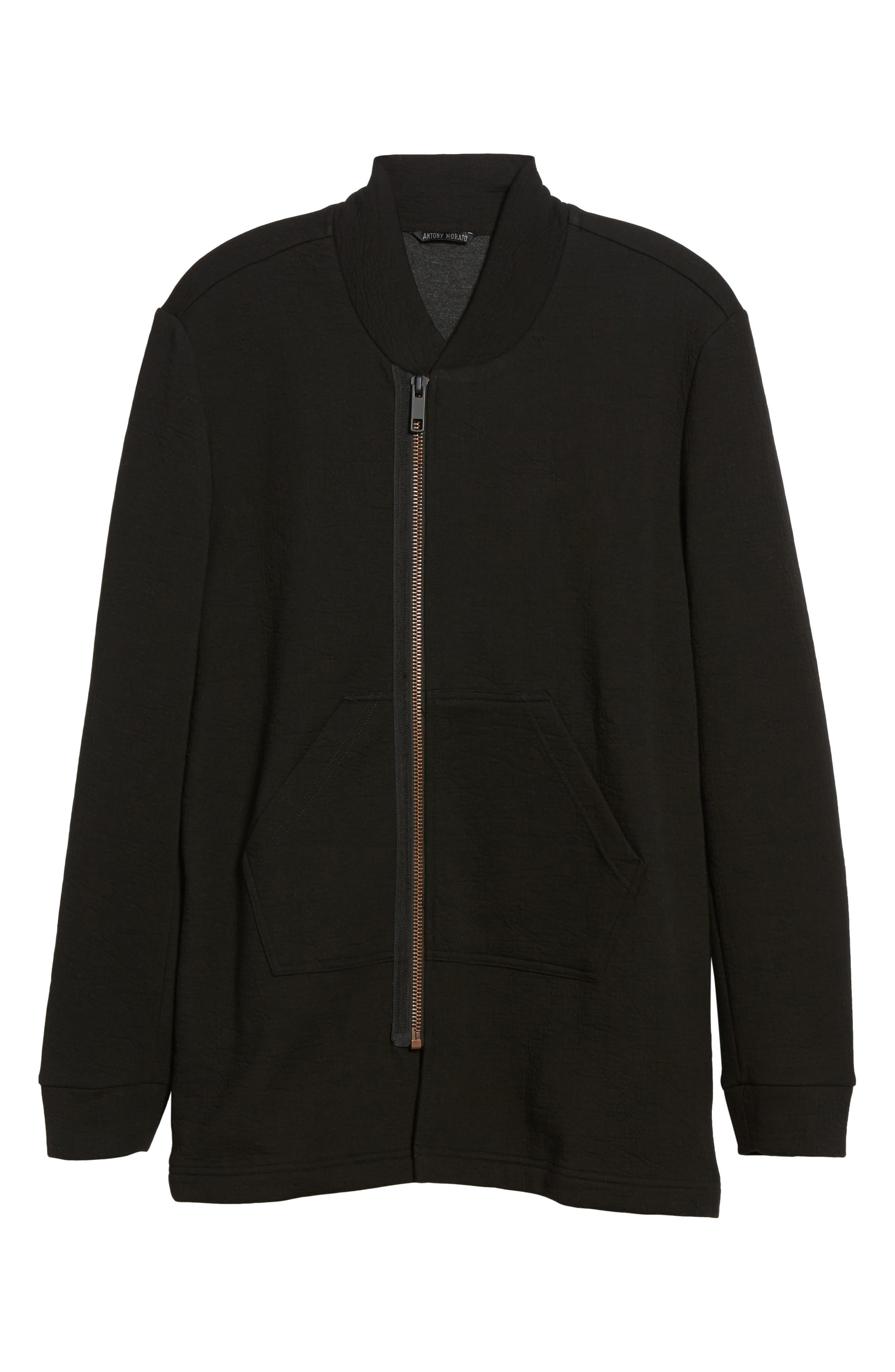 Zip Fleece Track Jacket,                             Alternate thumbnail 6, color,                             Black