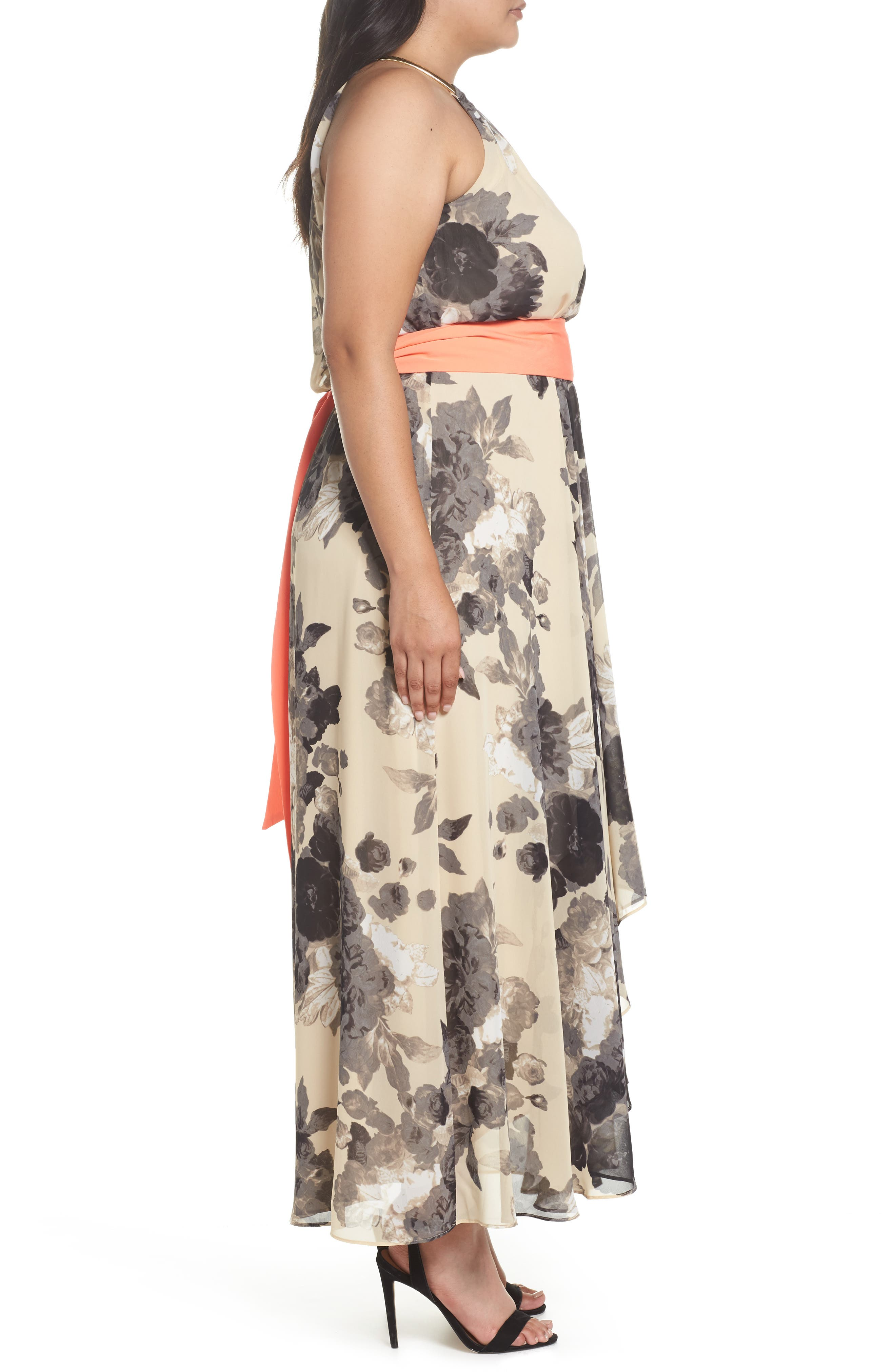 Floral Print Chiffon High/Low Dress,                             Alternate thumbnail 3, color,                             Taupe