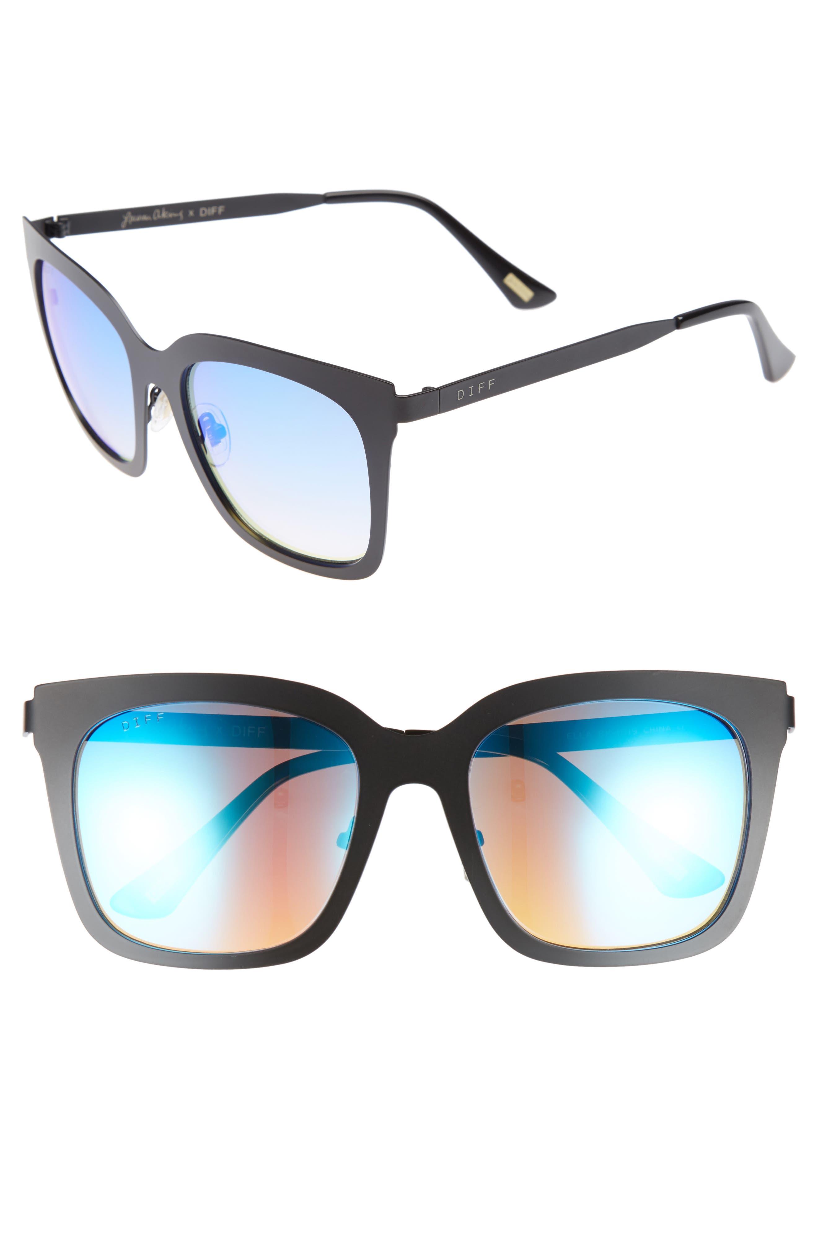 x Lauren Akins Ella 53mm Cat Eye Sunglasses,                         Main,                         color, Black/ Ice Blue