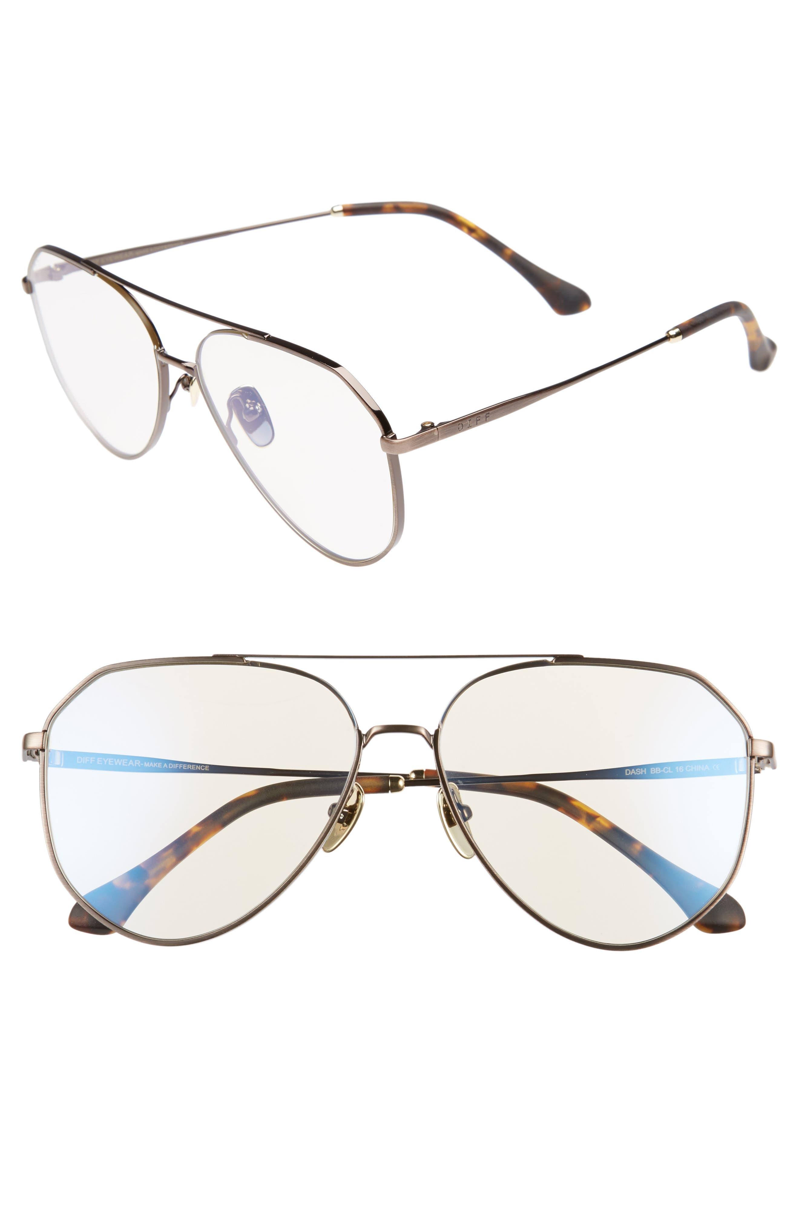 Dash 61mm Aviator Sunglasses,                         Main,                         color, Brown/ Clear