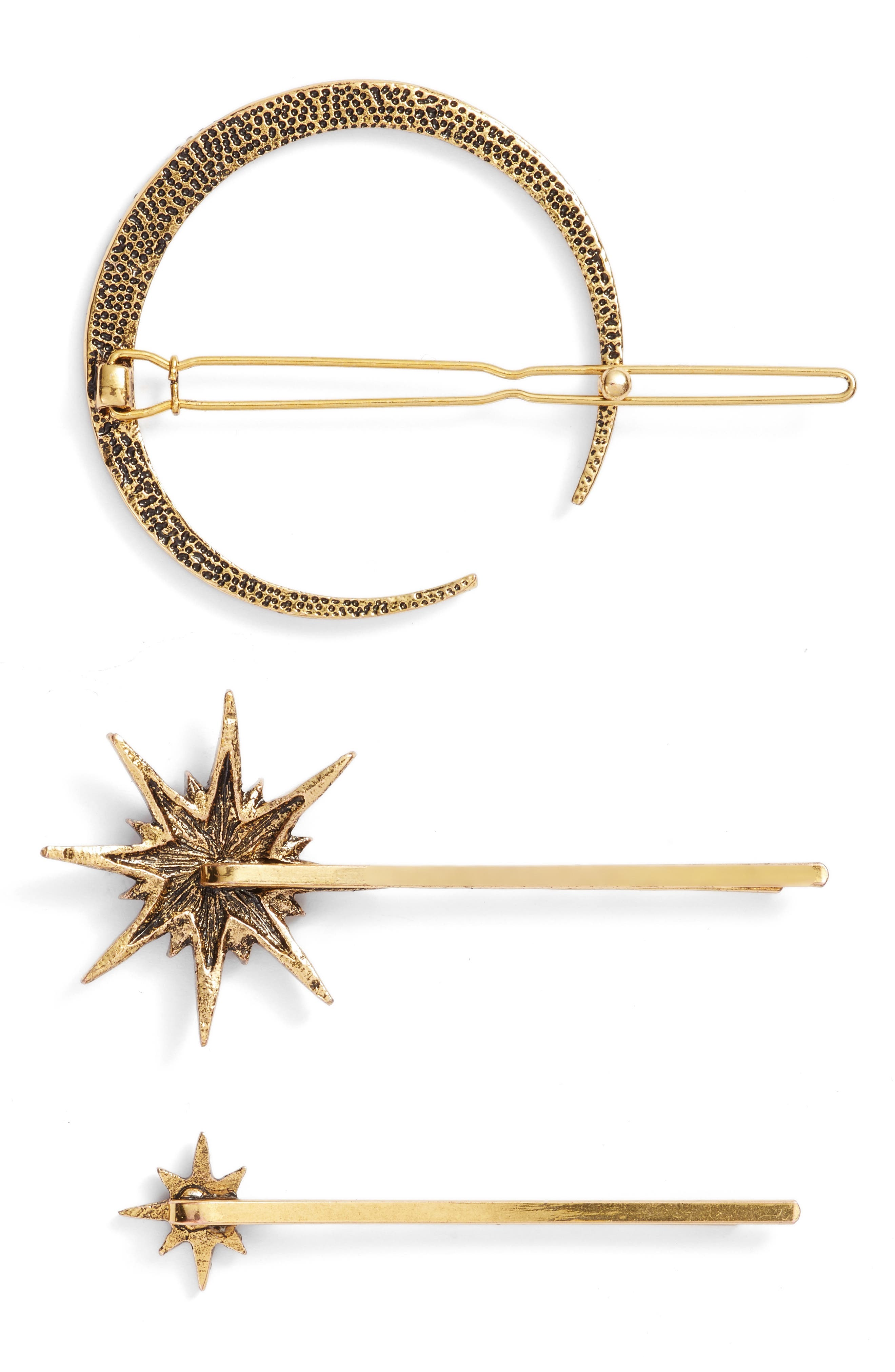 Celestial 3-Pack Crystal Hair Pin Set,                             Alternate thumbnail 2, color,                             Antique Gold