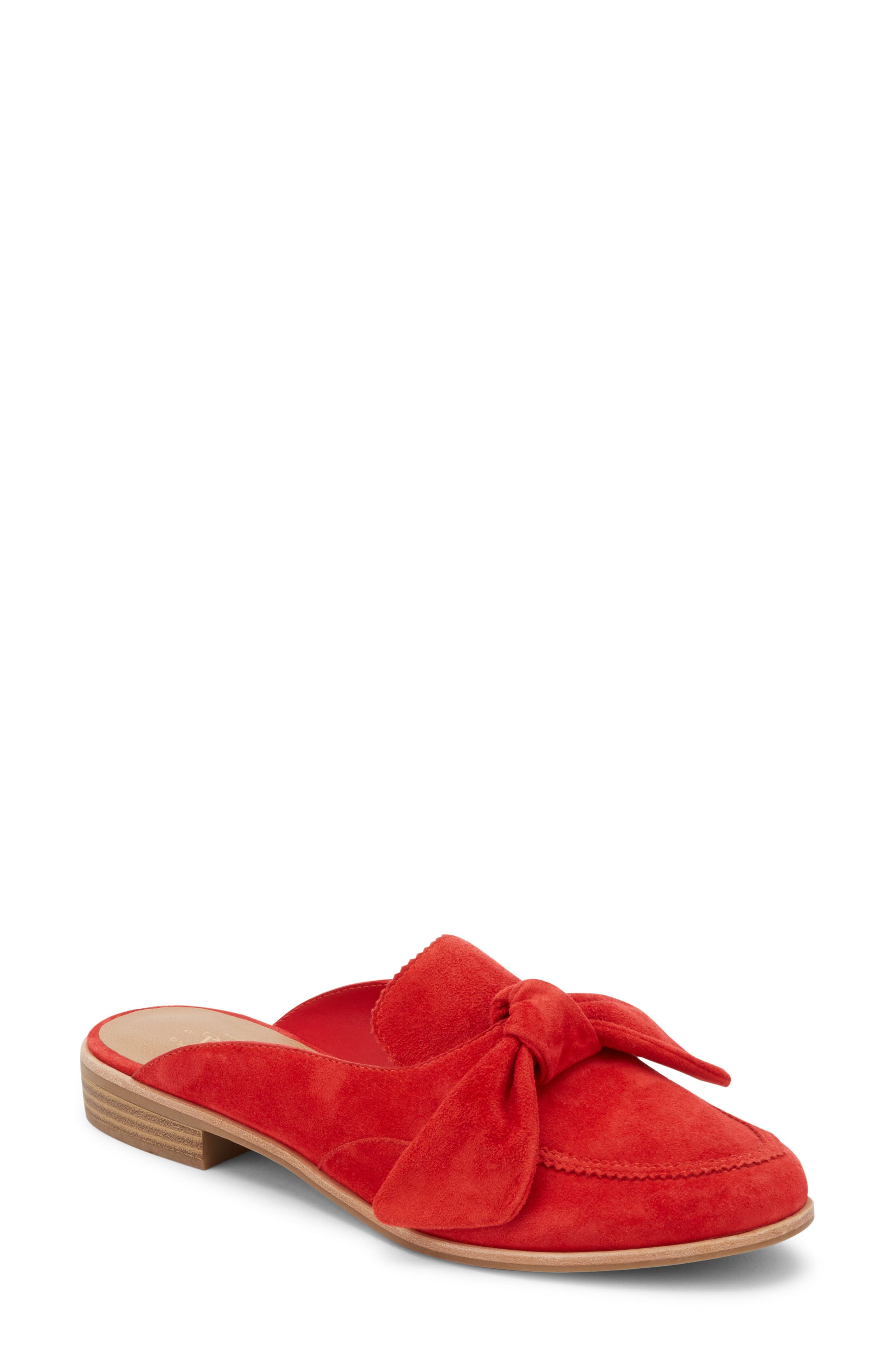Ebbie Bow Mule,                             Main thumbnail 1, color,                             Red Suede