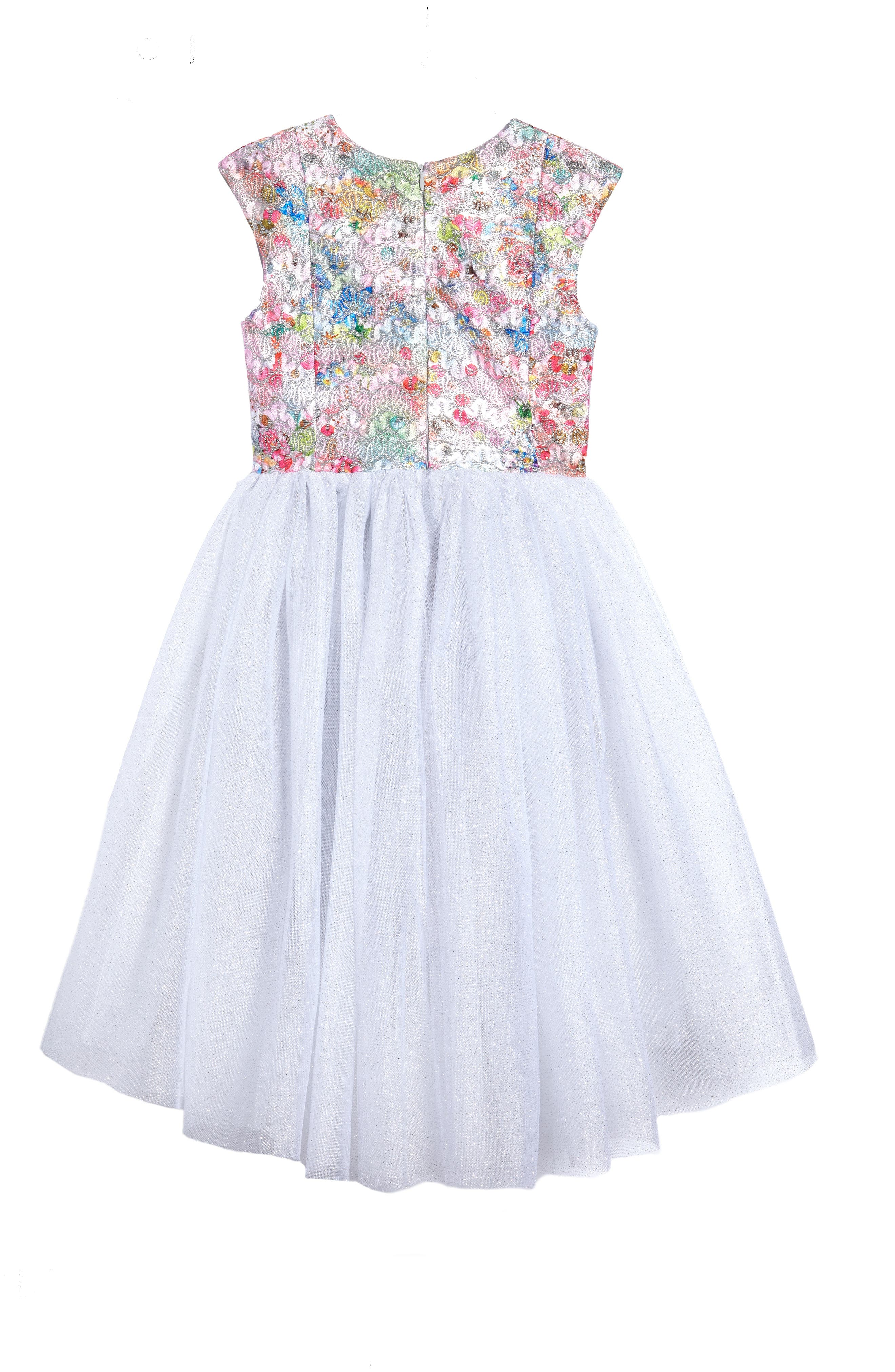 Brocade Bodice Dress,                             Alternate thumbnail 2, color,                             Silver