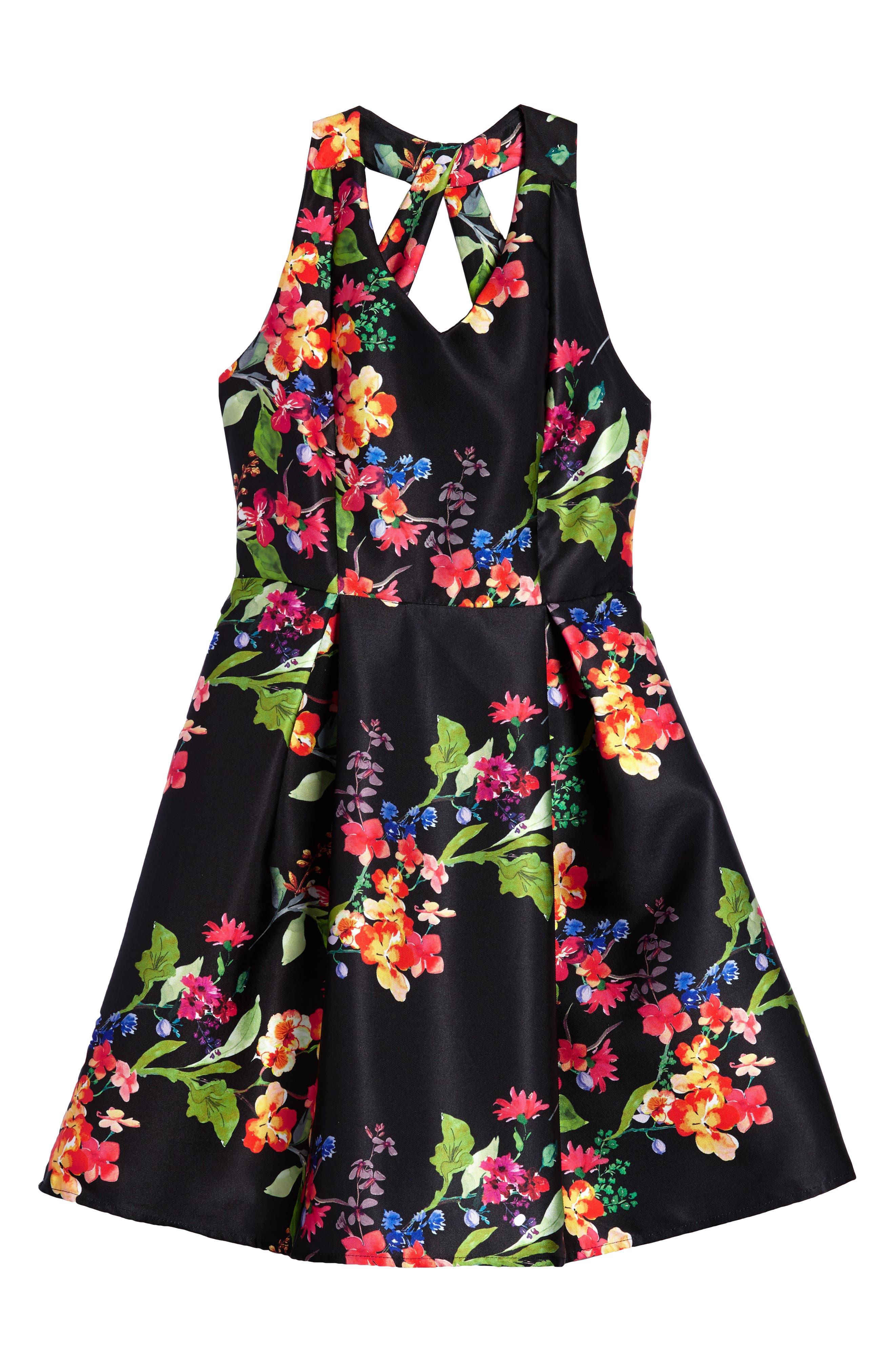 Main Image - Love, Nickie Lew Floral Print Halter Dress (Big Girls)