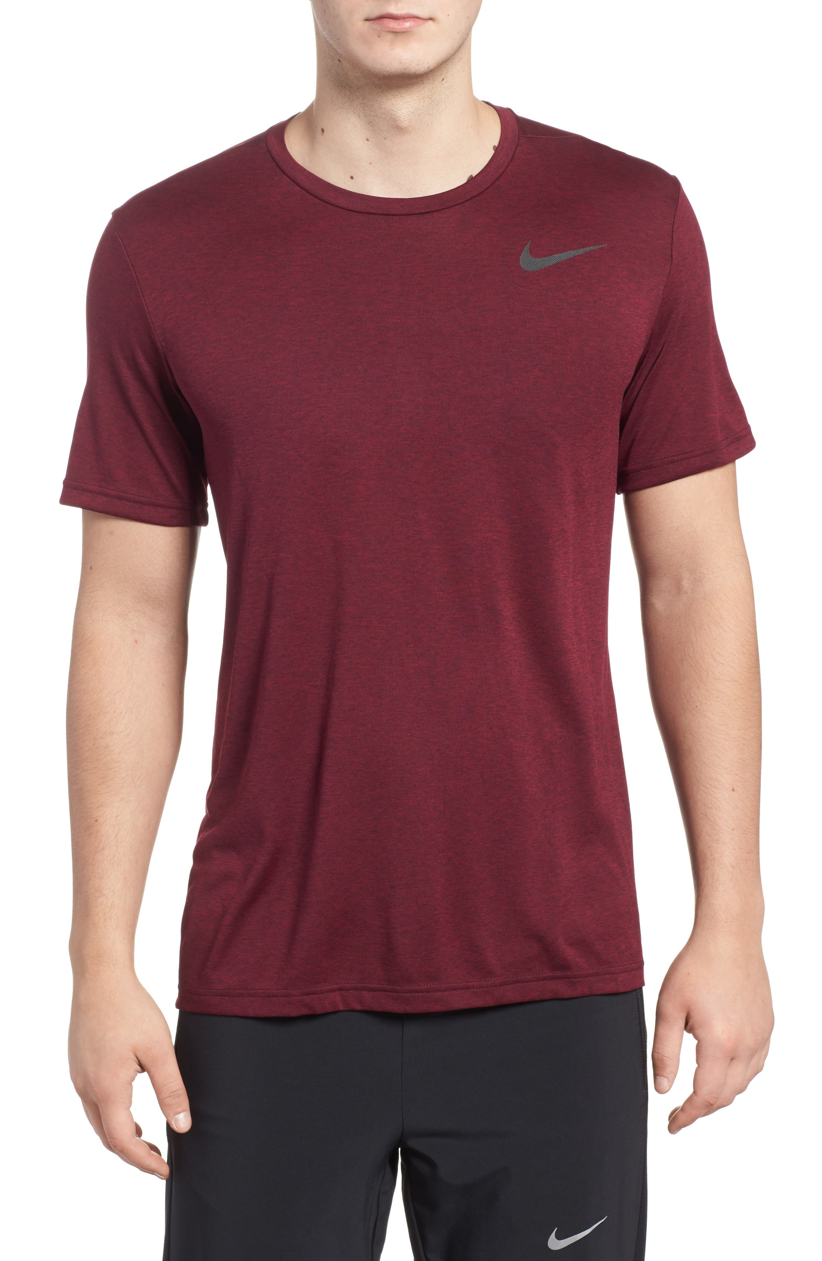 Hyper Dry Training Tee,                         Main,                         color, Port Wine/ Noble Red/ Black