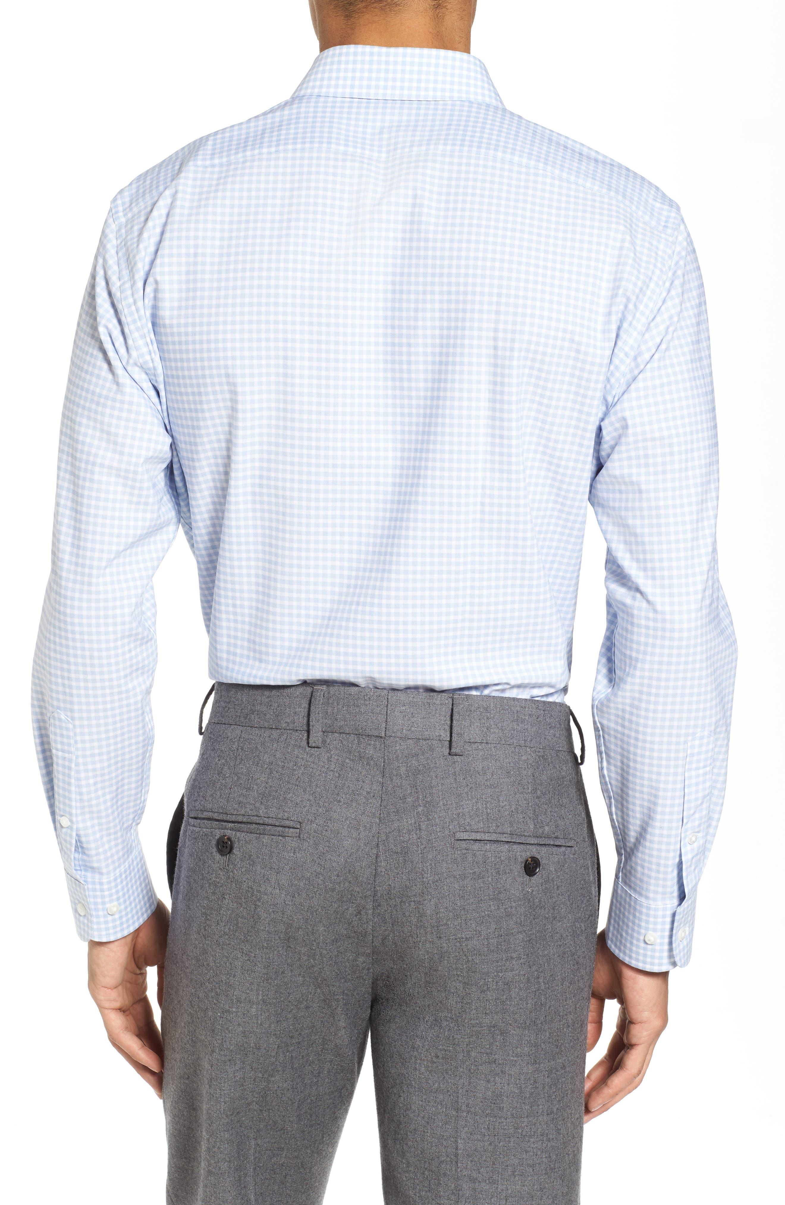 Tech-Smart Trim Fit Stretch Check Dress Shirt,                             Alternate thumbnail 3, color,                             Blue Brunerra