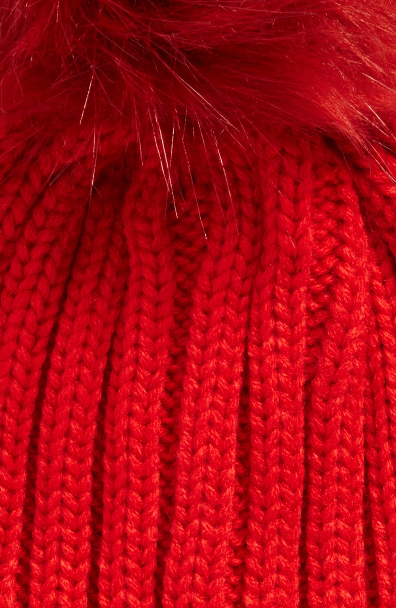 Faux Fur Pompom Beanie,                             Alternate thumbnail 2, color,                             Red
