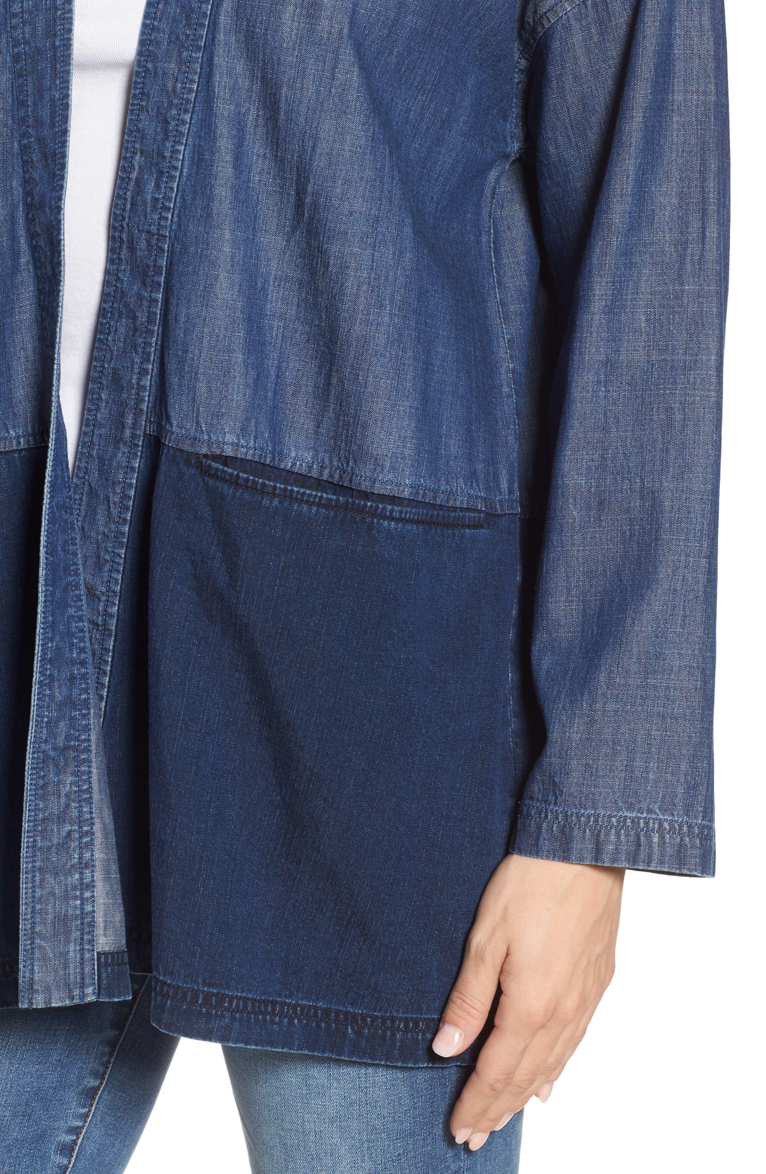 Denim Kimono Jacket,                             Alternate thumbnail 4, color,                             Midnight