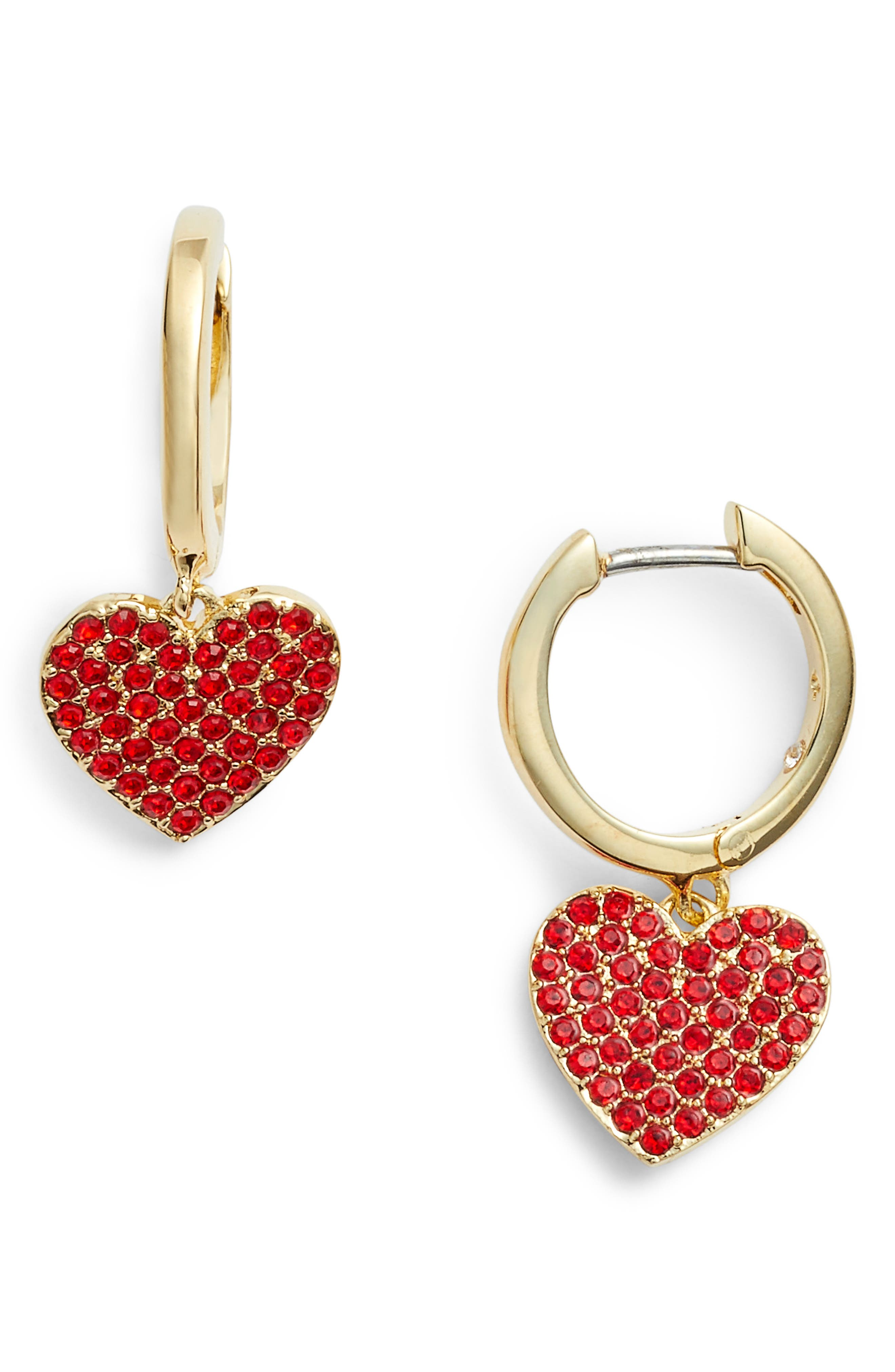 yours truly pave heart drop earrings,                         Main,                         color, Red
