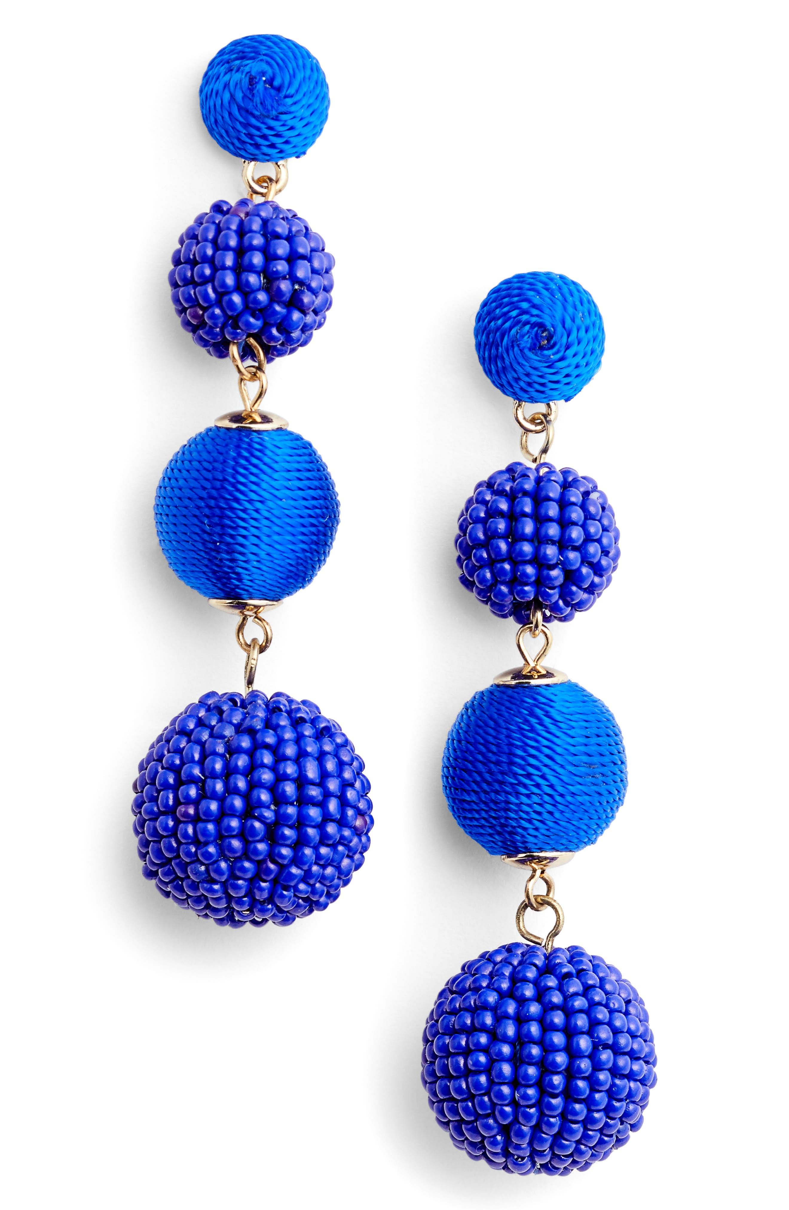 Mixed Bead & Thread Drop Earrings,                         Main,                         color, Blue