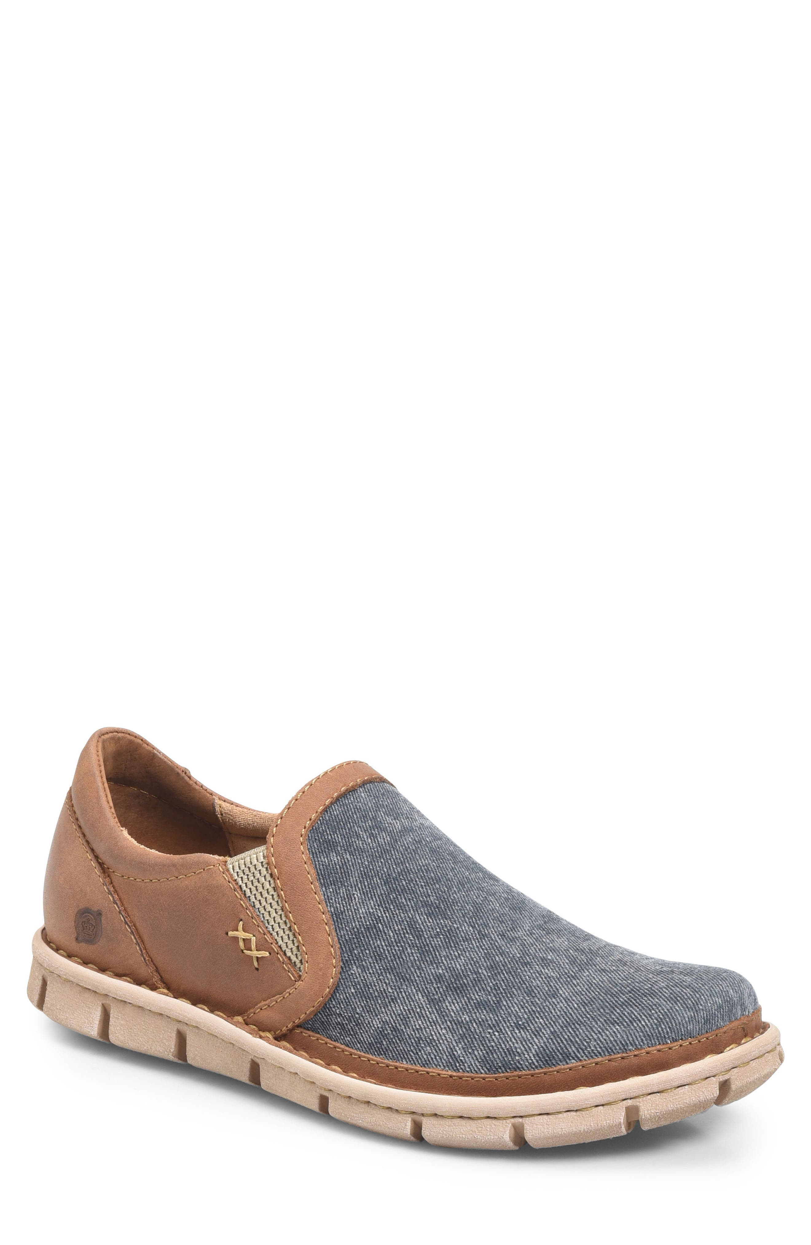 'Sawyer' Leather Slip-On,                             Main thumbnail 1, color,                             Navy/ Light Brown Canvas