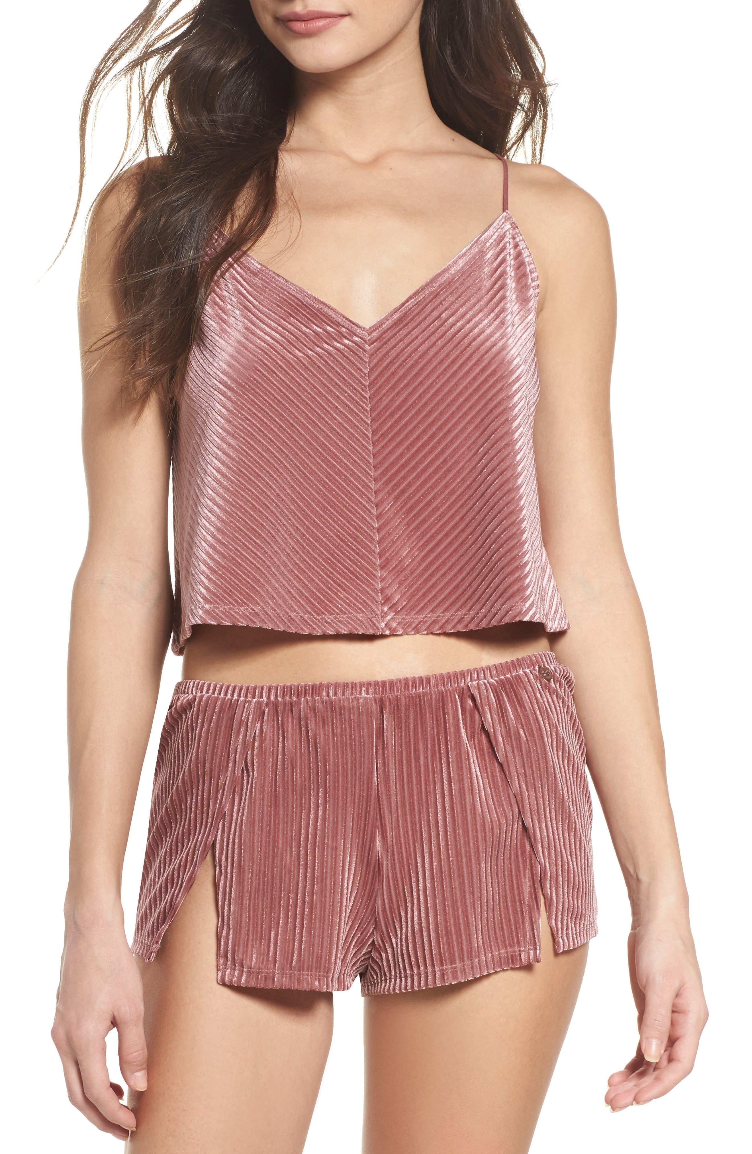 Velvet Pajama Shorts,                             Alternate thumbnail 4, color,                             Rose