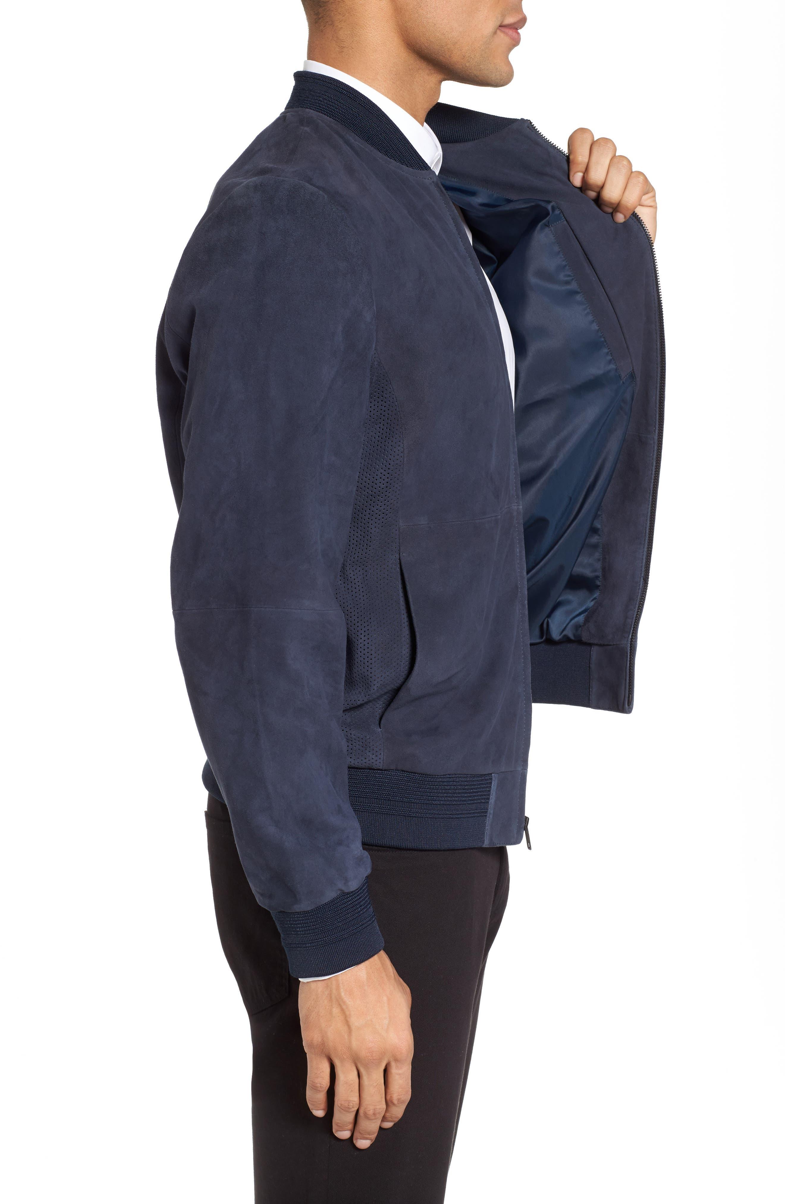 Suede Bomber Jacket,                             Alternate thumbnail 3, color,                             Navy Blue