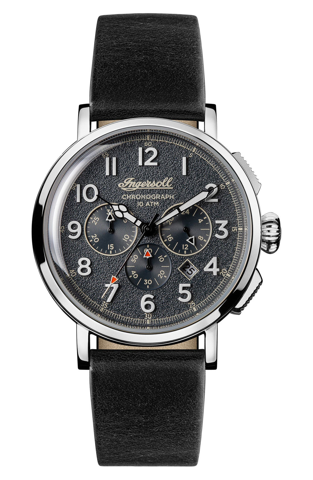 Ingersoll St. John Chronograph Leather Strap Watch, 44mm,                             Main thumbnail 1, color,                             Black/ Blue/ Silver