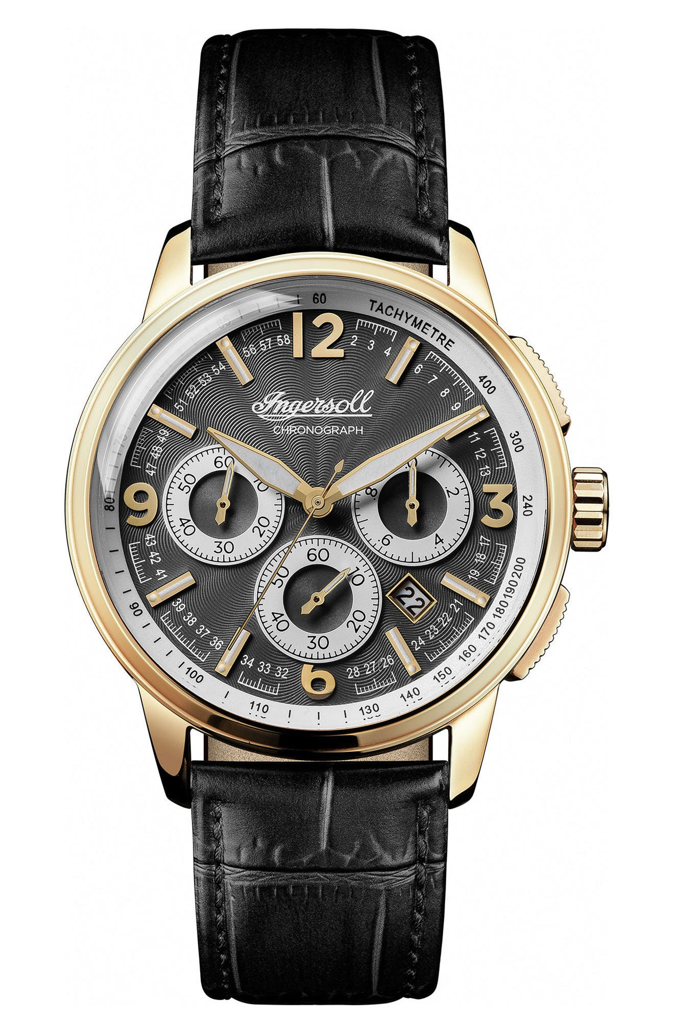 Ingersoll Regent Chronograph Leather Strap Watch, 47mm,                         Main,                         color, Black/ Gold