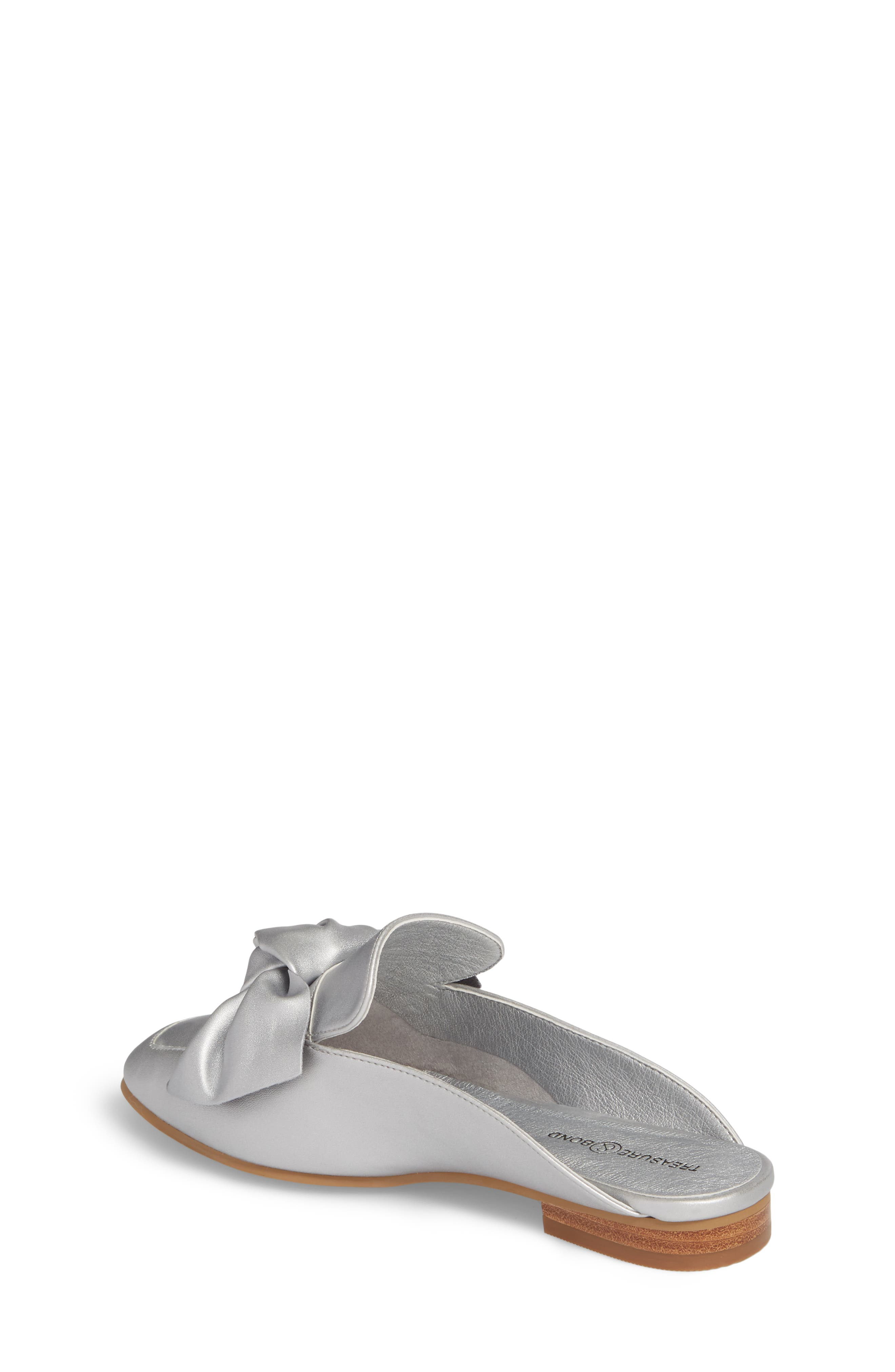 Gina Knotted Loafer Mule,                             Alternate thumbnail 2, color,                             Silver Faux Leather
