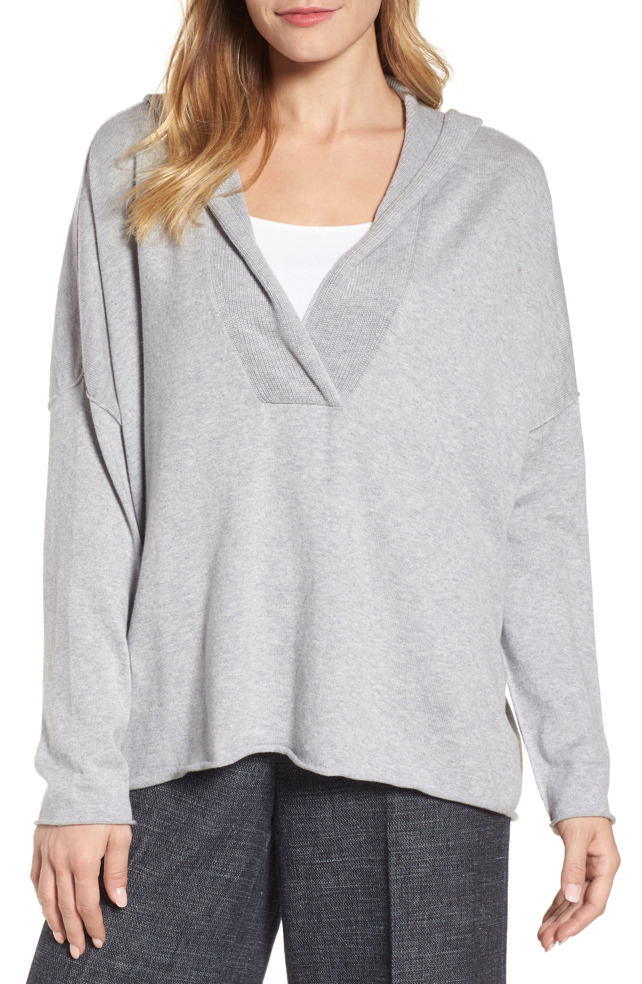 Main Image - Eileen Fisher Hooded Organic Cotton Box Sweater