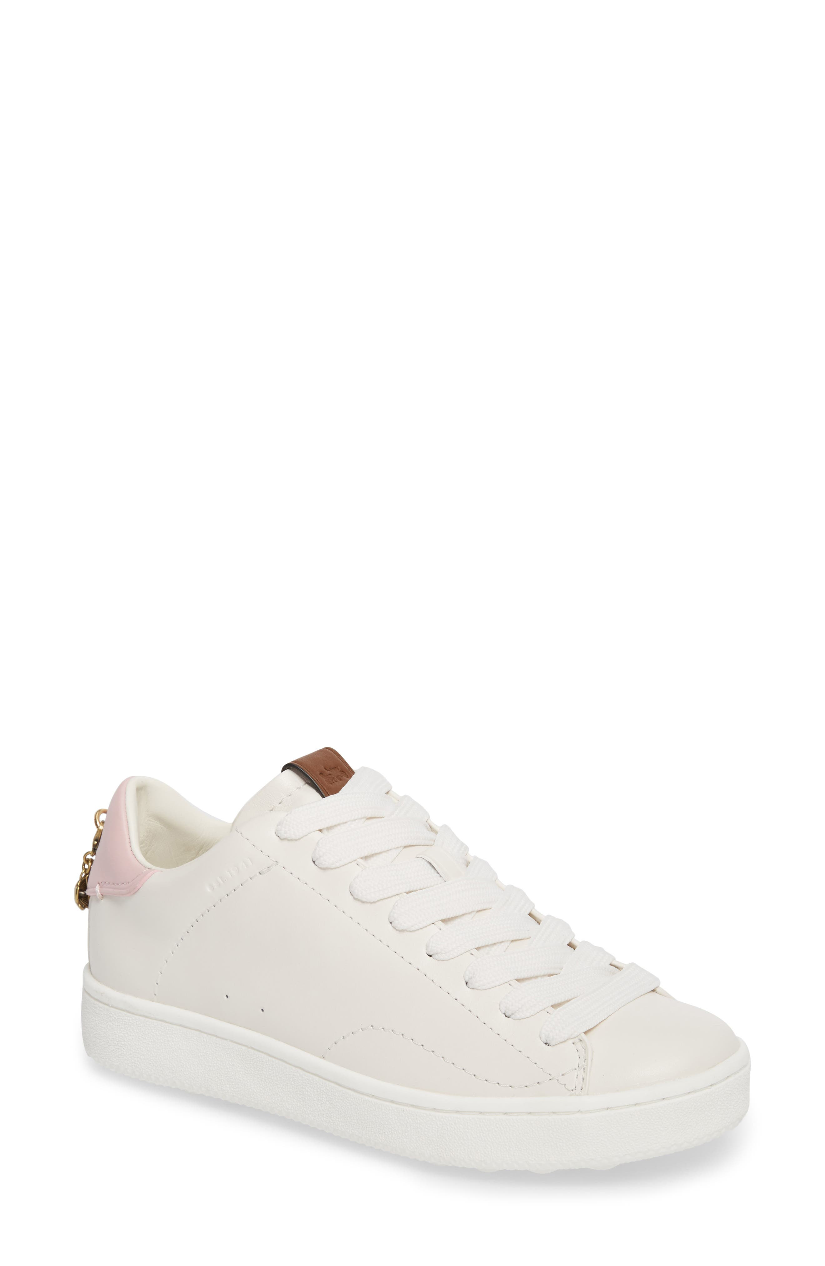Sneaker,                         Main,                         color, White/ Petal Leather