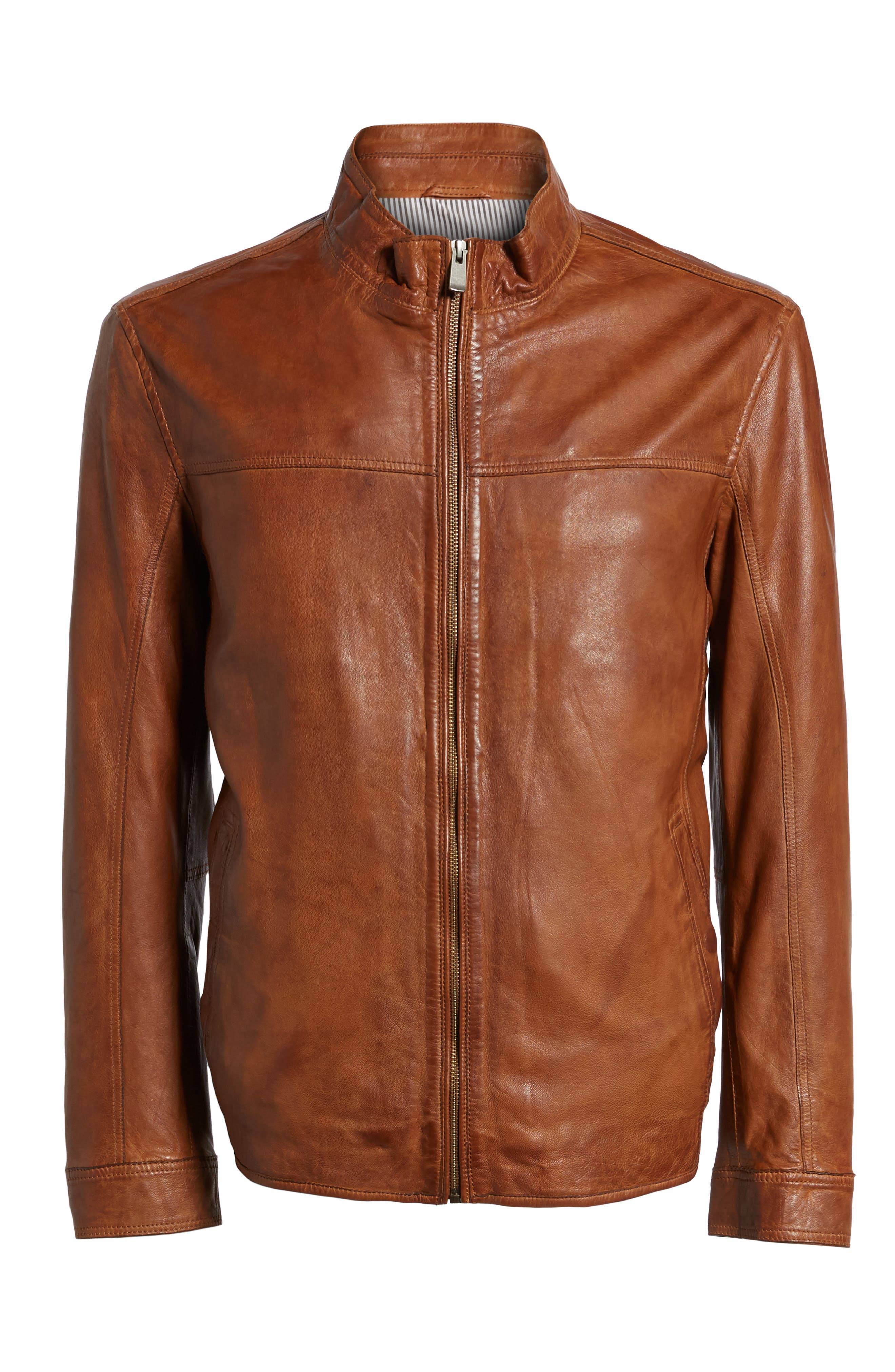 Zip Leather Jacket,                             Alternate thumbnail 6, color,                             Cognac