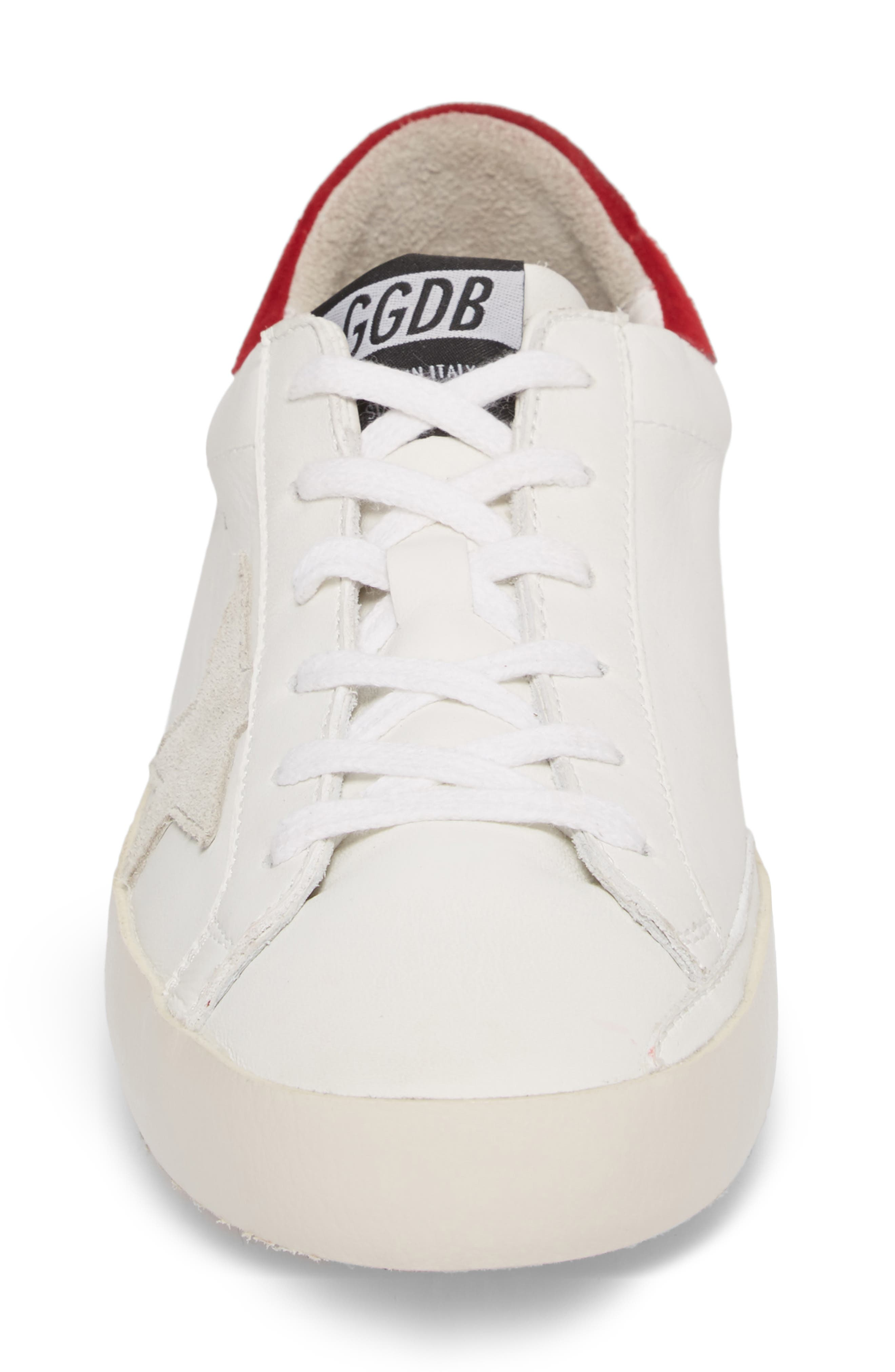 Superstar Low Top Sneaker,                             Alternate thumbnail 4, color,                             White/ Bordeaux