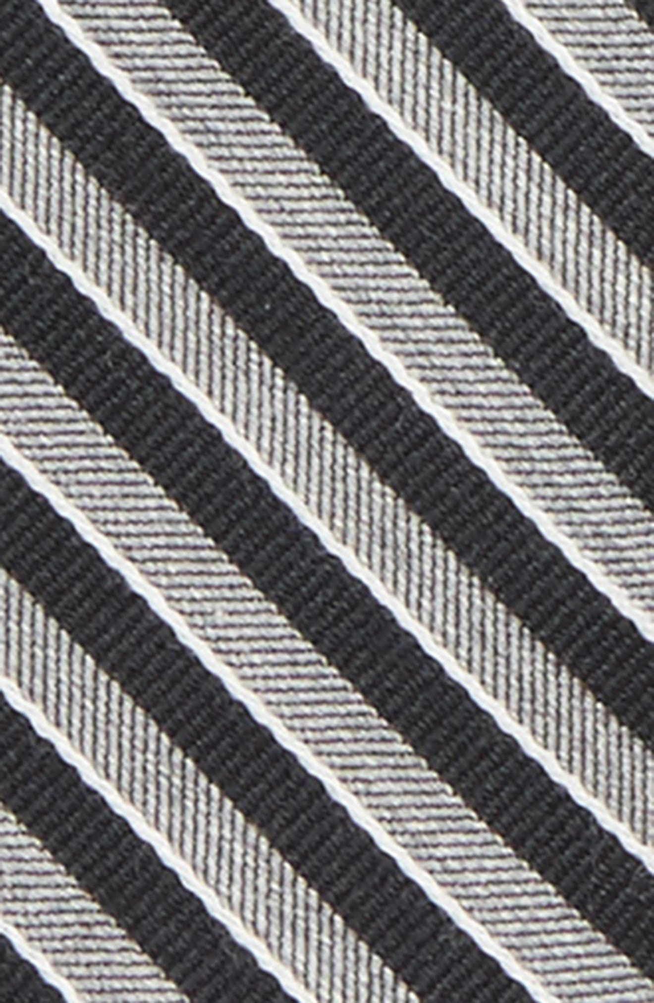 Stripe Silk Zip Tie,                             Alternate thumbnail 2, color,                             Black