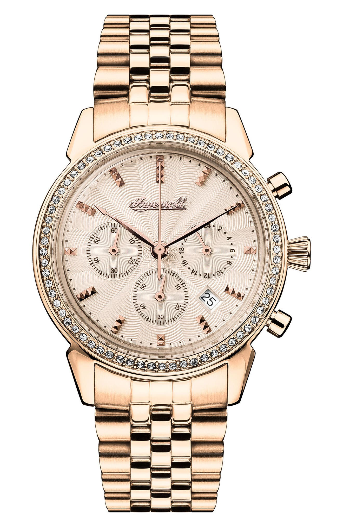 Ingersoll Crystal Accent Chronograph Bracelet Watch, 35mm,                             Main thumbnail 1, color,                             Gold/ Rose Gold