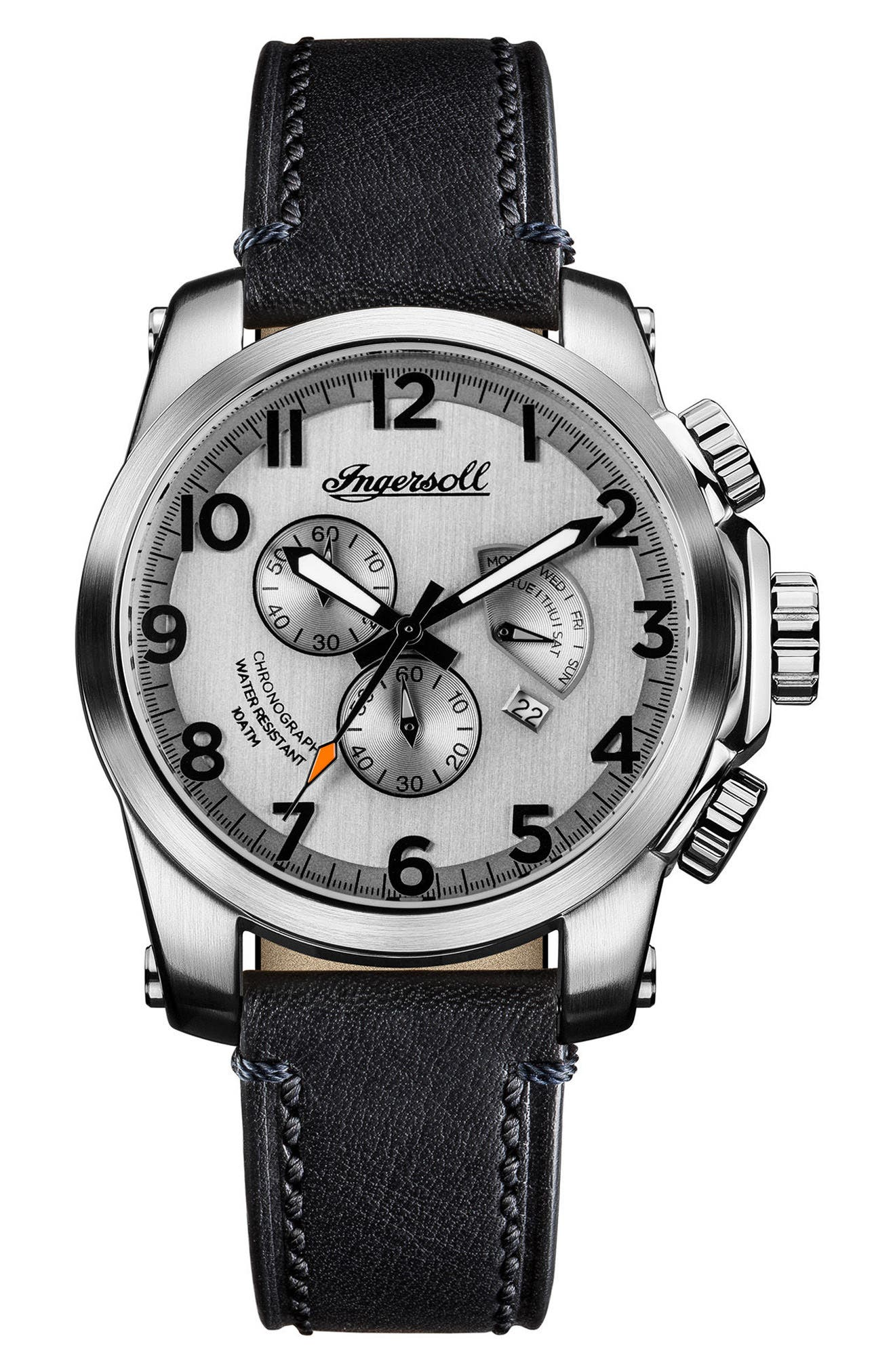 Ingersoll Manning Chronograph Leather Strap Watch, 47mm,                             Main thumbnail 1, color,                             Black/ Silver