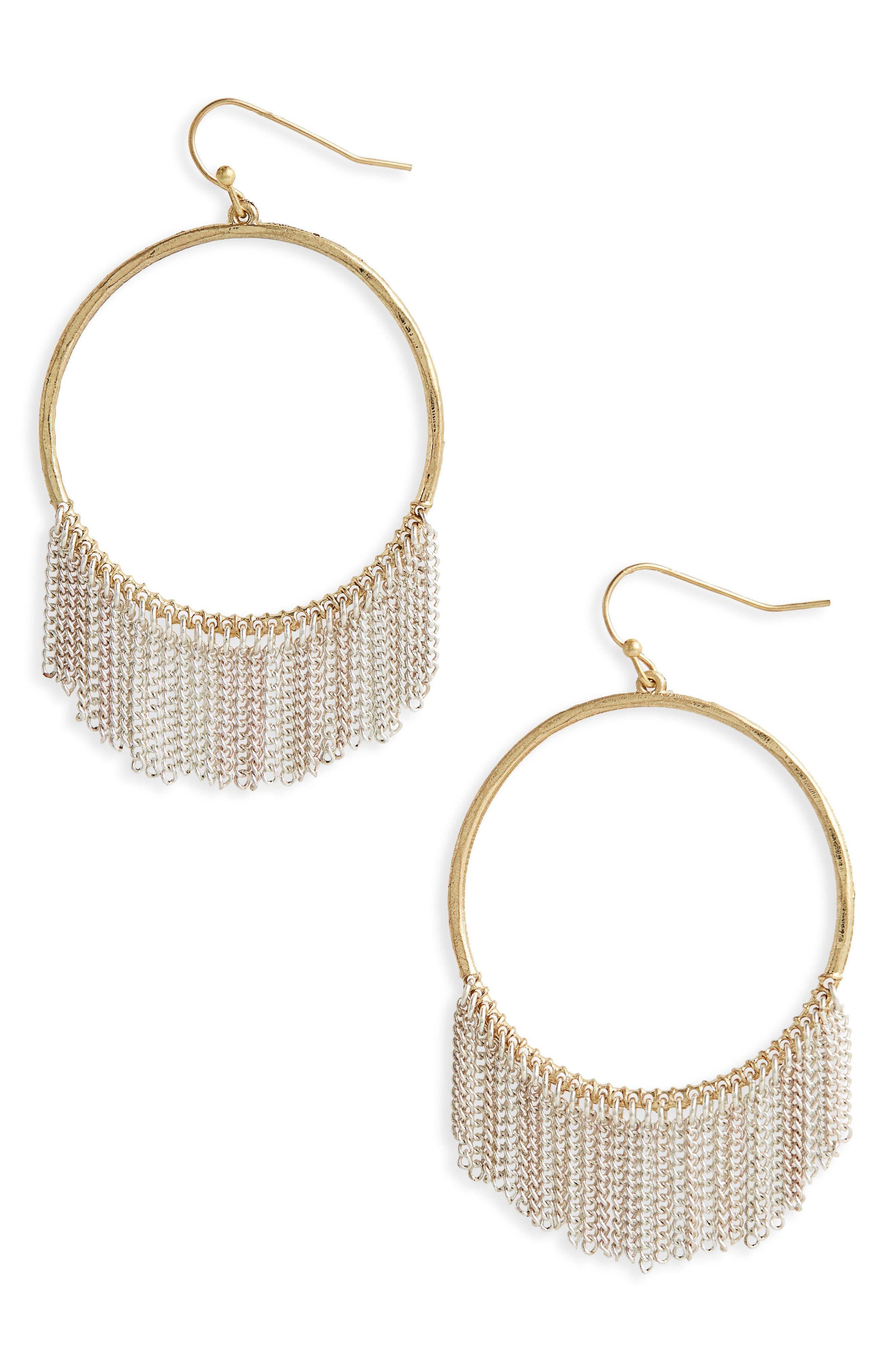 Tassel Hoop Earrings,                         Main,                         color, Gold