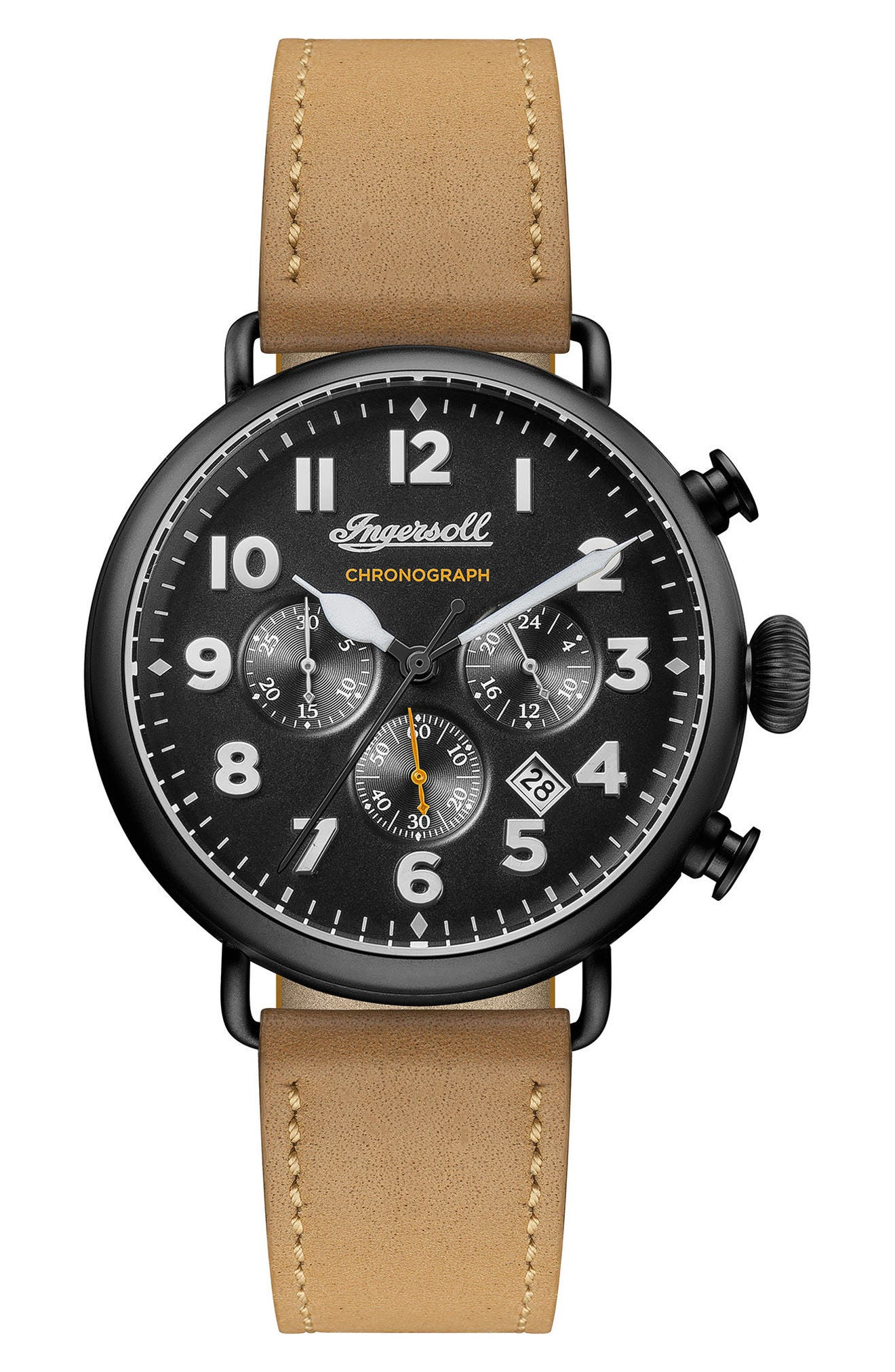 Ingersoll Trenton Chronograph Leather Strap Watch, 44mm,                         Main,                         color, Tan/ Black