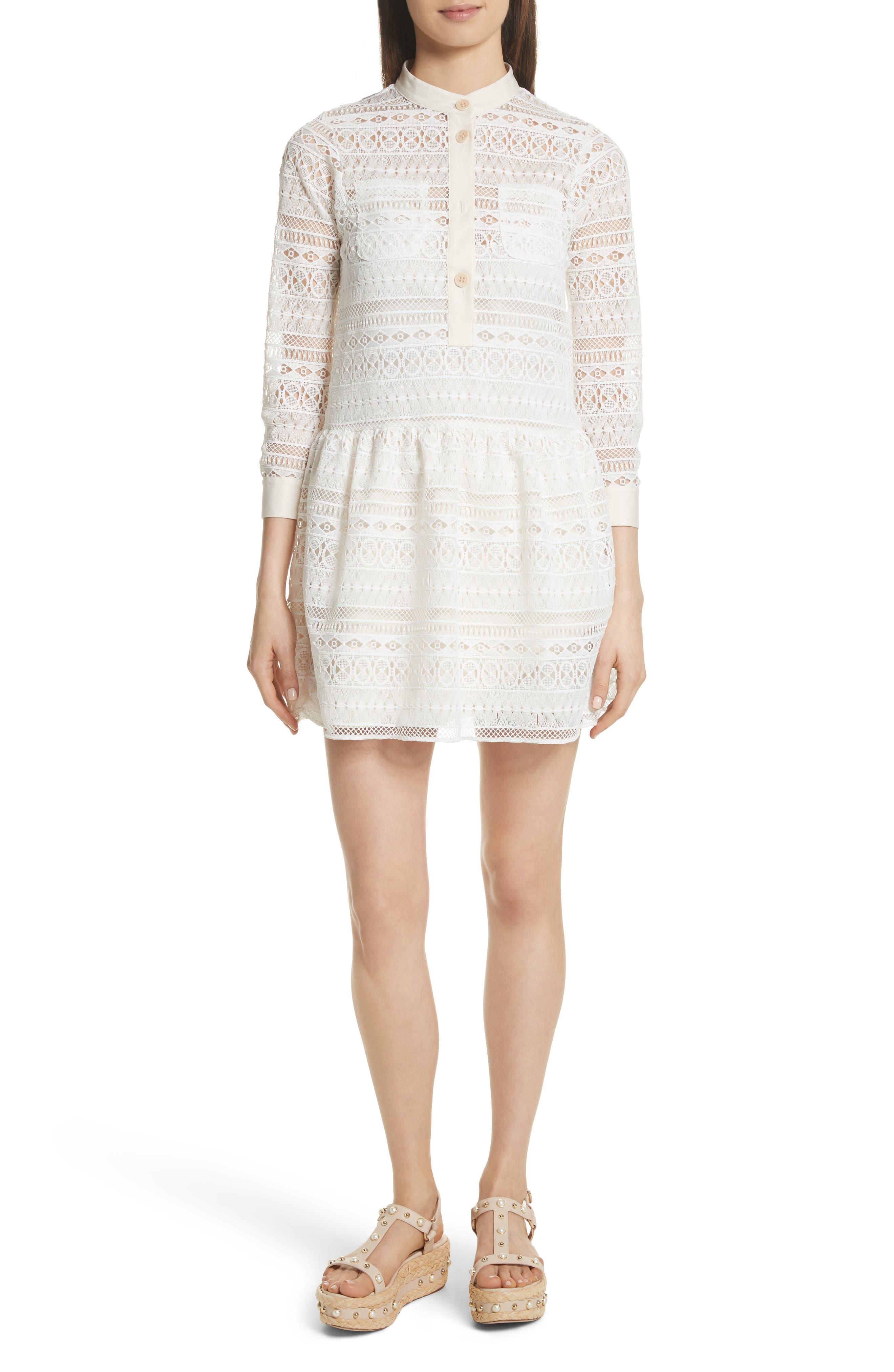 Lace Shirtdress,                             Main thumbnail 1, color,                             Bianco