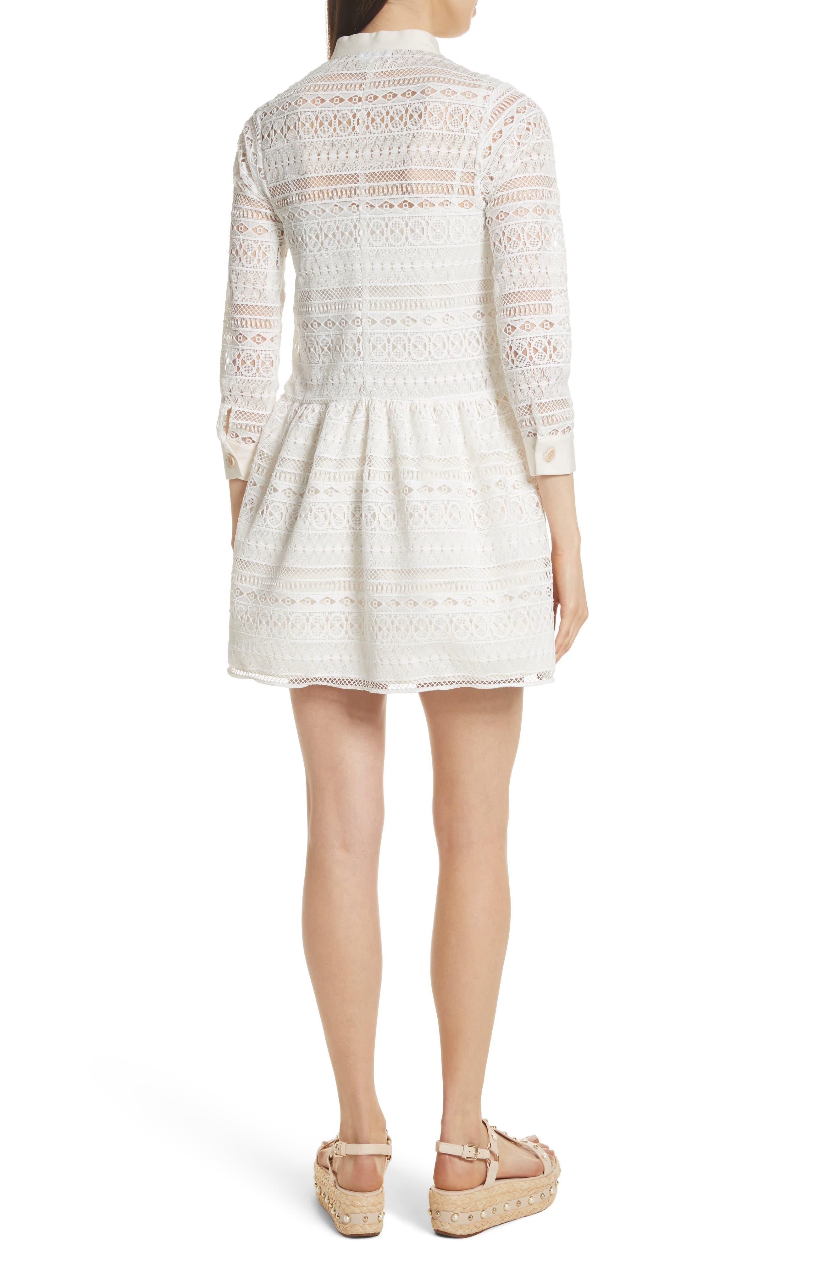 Lace Shirtdress,                             Alternate thumbnail 2, color,                             Bianco