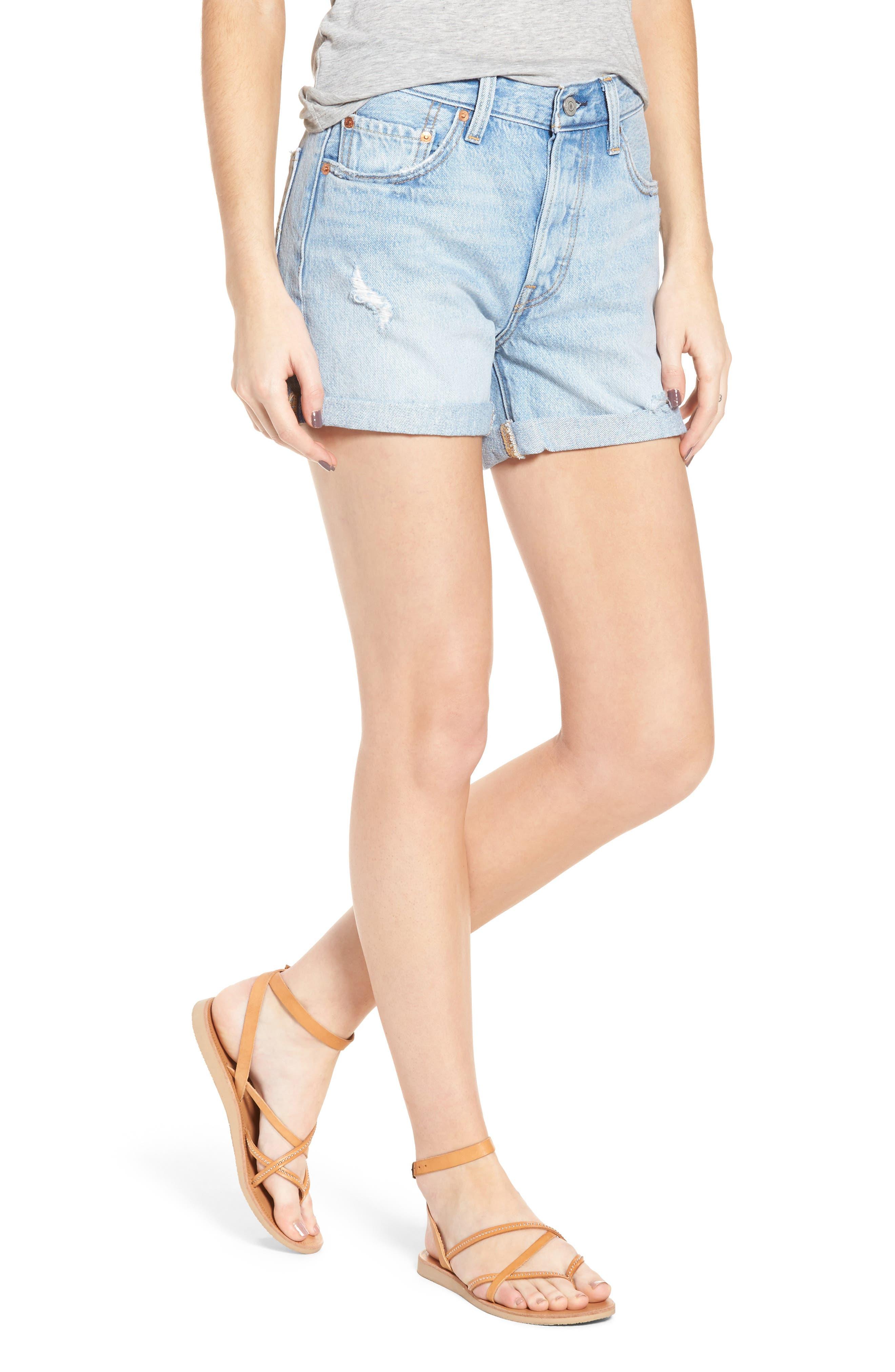 501<sup>®</sup> Cuffed Long Denim Shorts,                             Main thumbnail 1, color,                             North Beach Blues