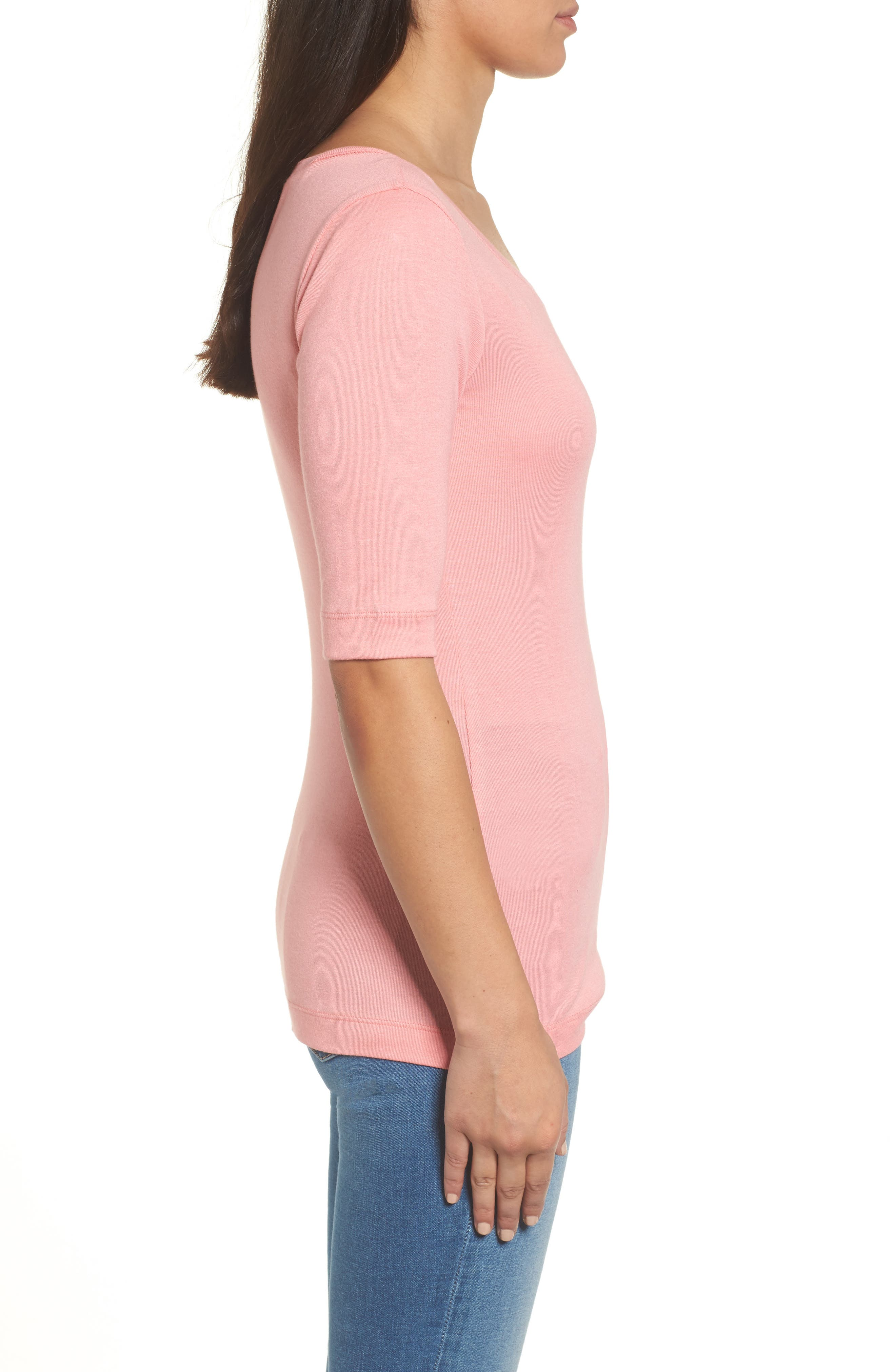 Ballet Neck Cotton & Modal Knit Elbow Sleeve Tee,                             Alternate thumbnail 3, color,                             Pink Berry Ice