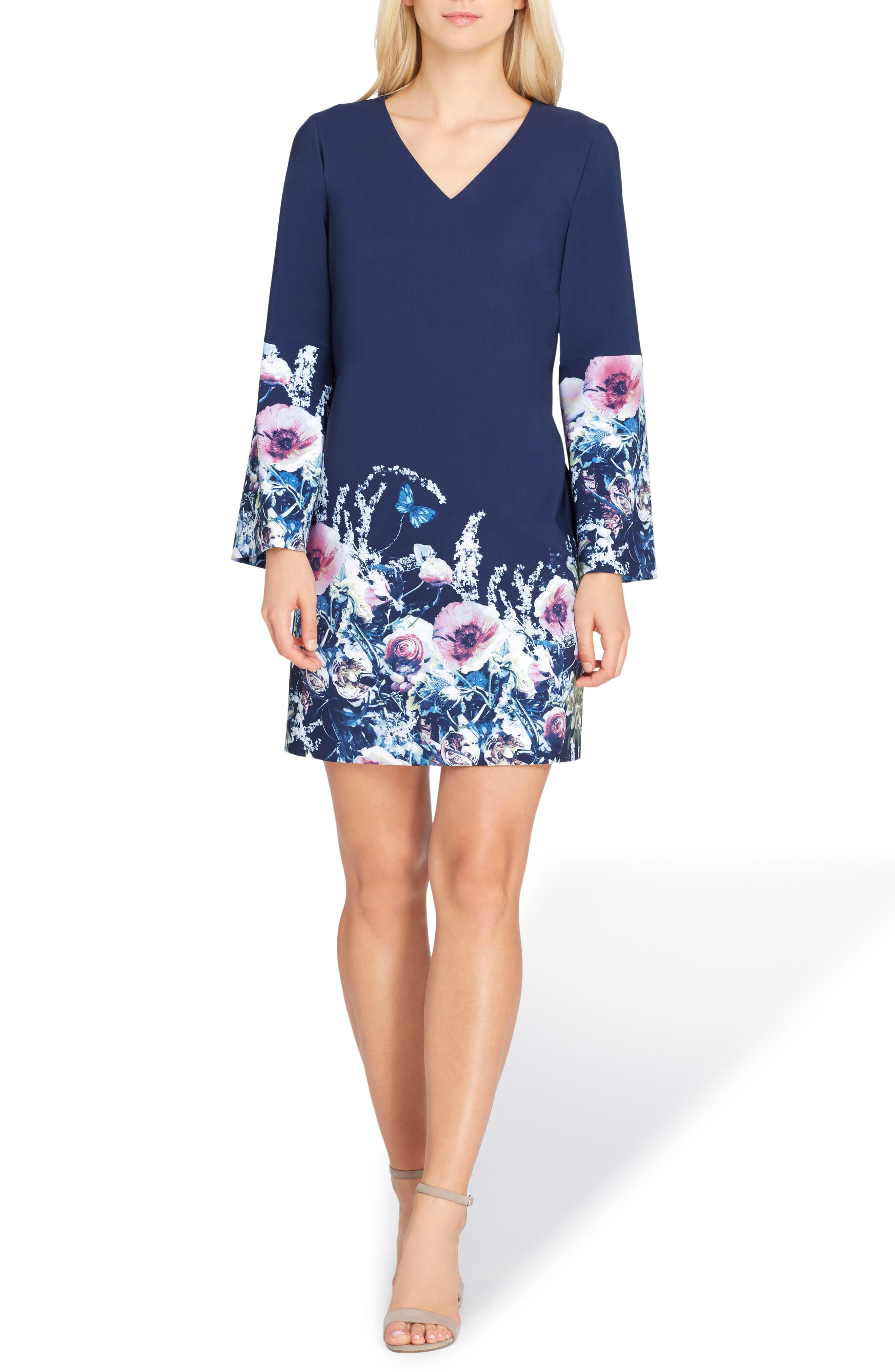 Flare Sleeve Shift Dress,                         Main,                         color, Navy/ Ivory/ Pink