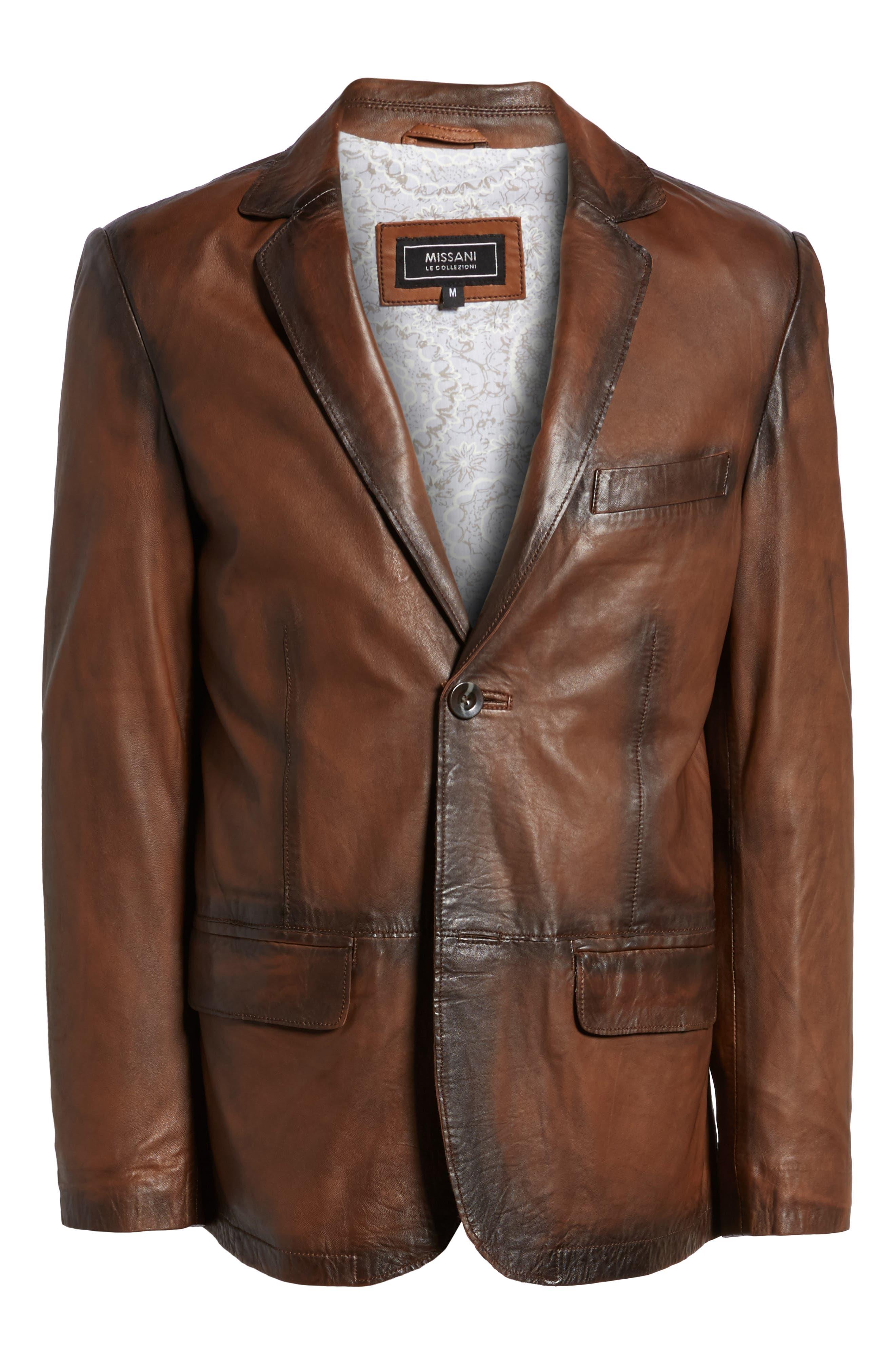 Vintage Leather Blazer,                             Alternate thumbnail 6, color,                             Brown