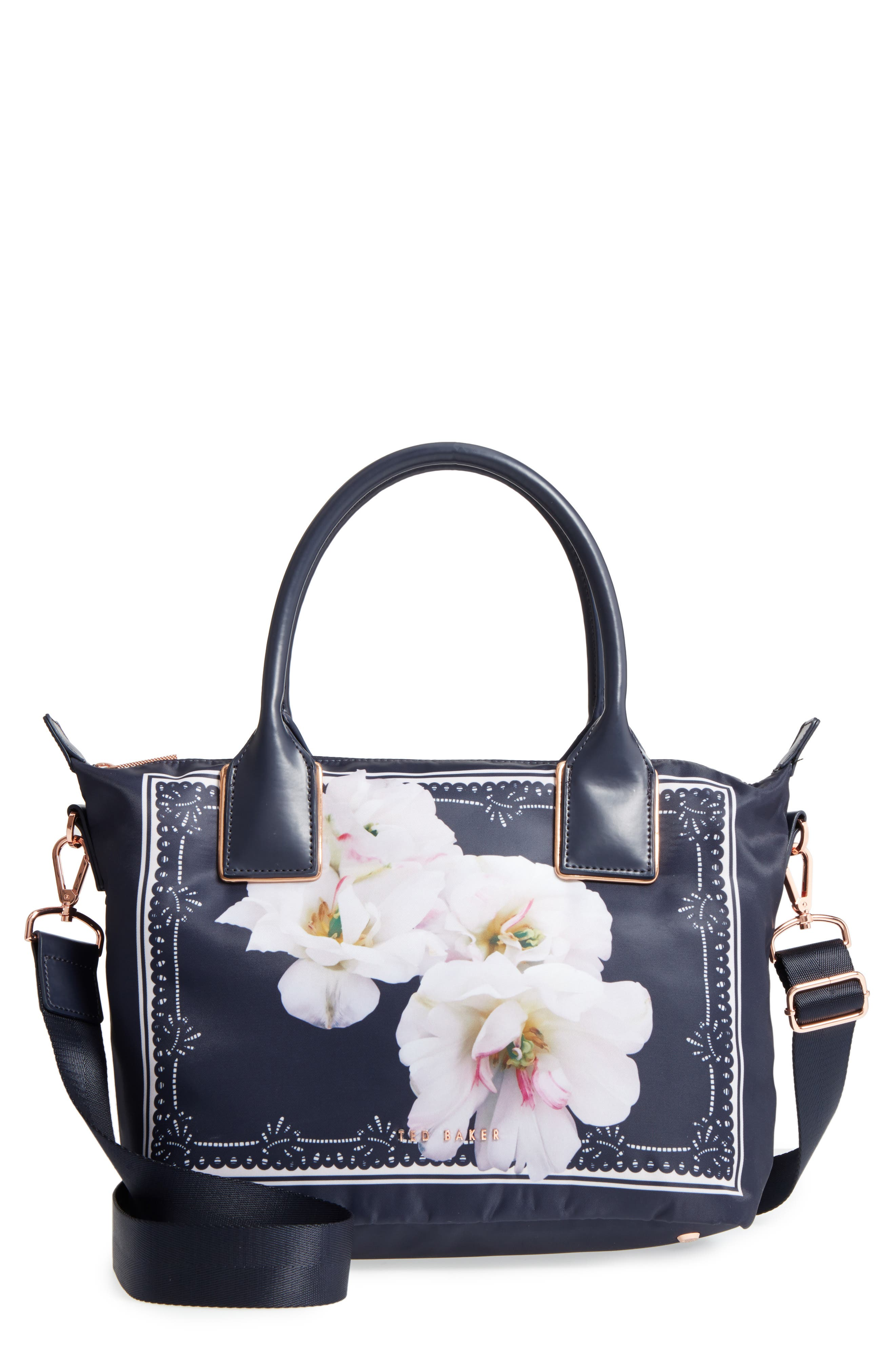 Small Kimhas Gardenia Tote,                             Main thumbnail 1, color,                             Dark Blue