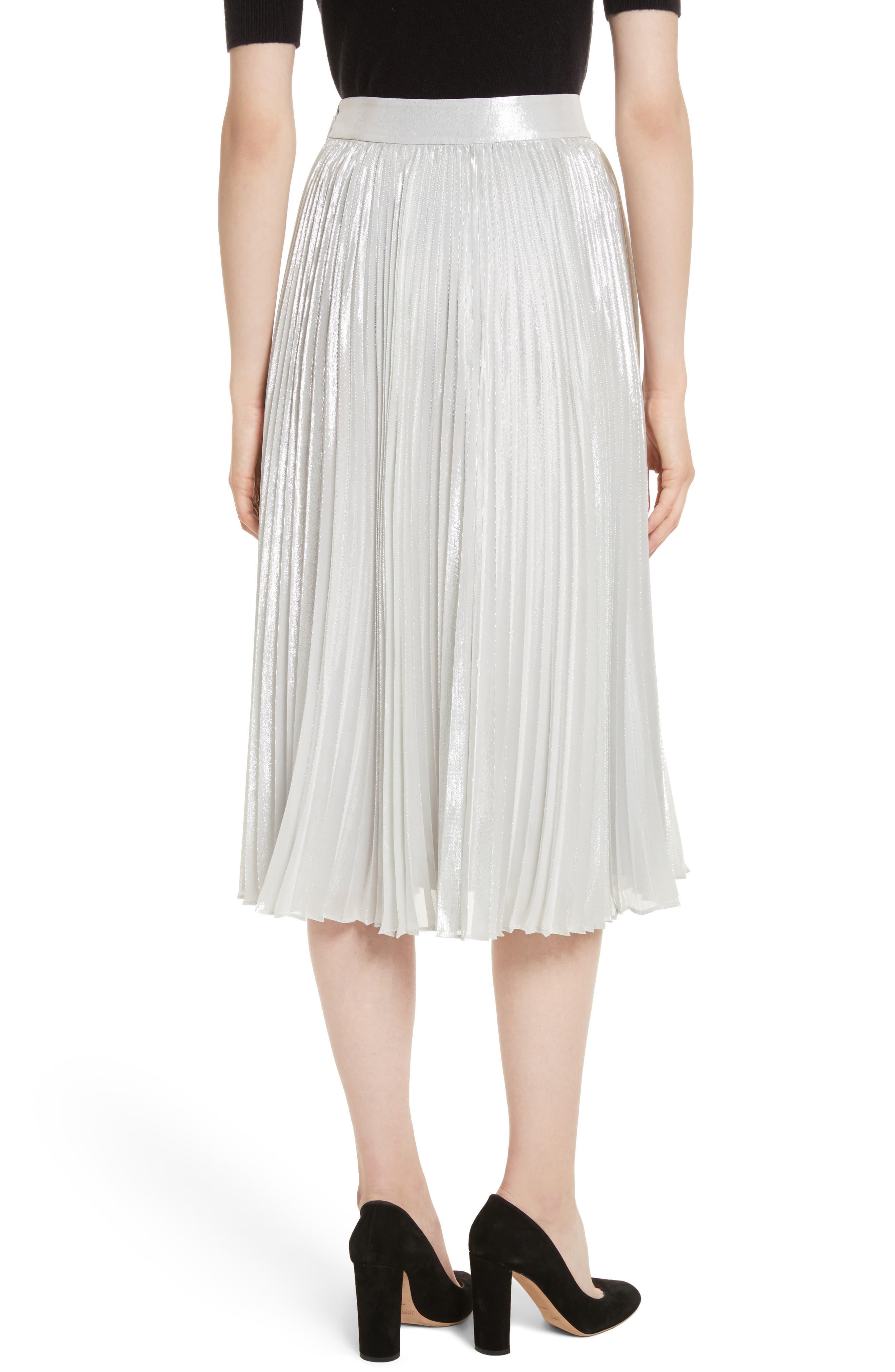 metallic pleat midi skirt,                             Alternate thumbnail 2, color,                             Silver