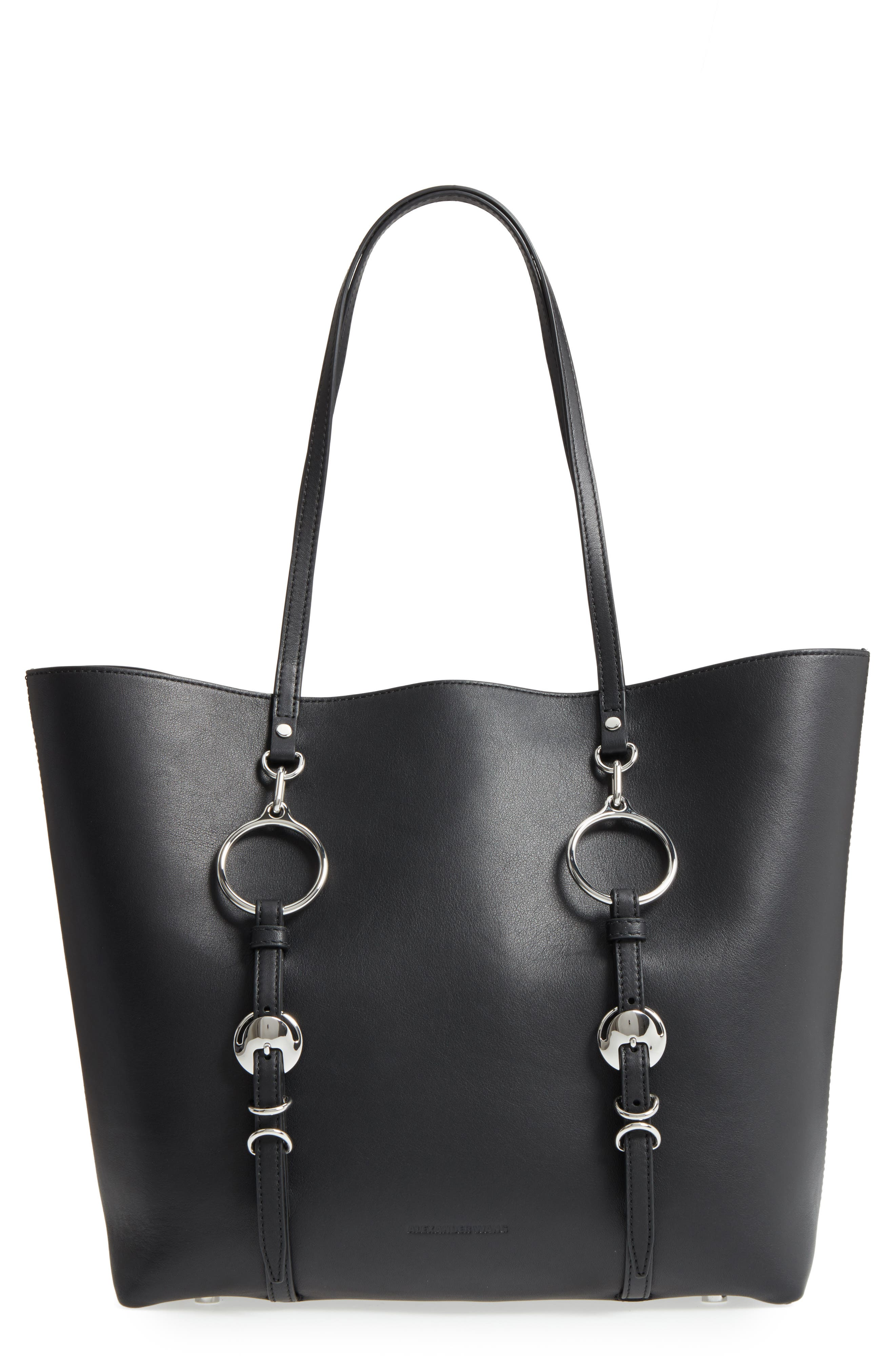 Ace Leather Tote,                         Main,                         color, Black
