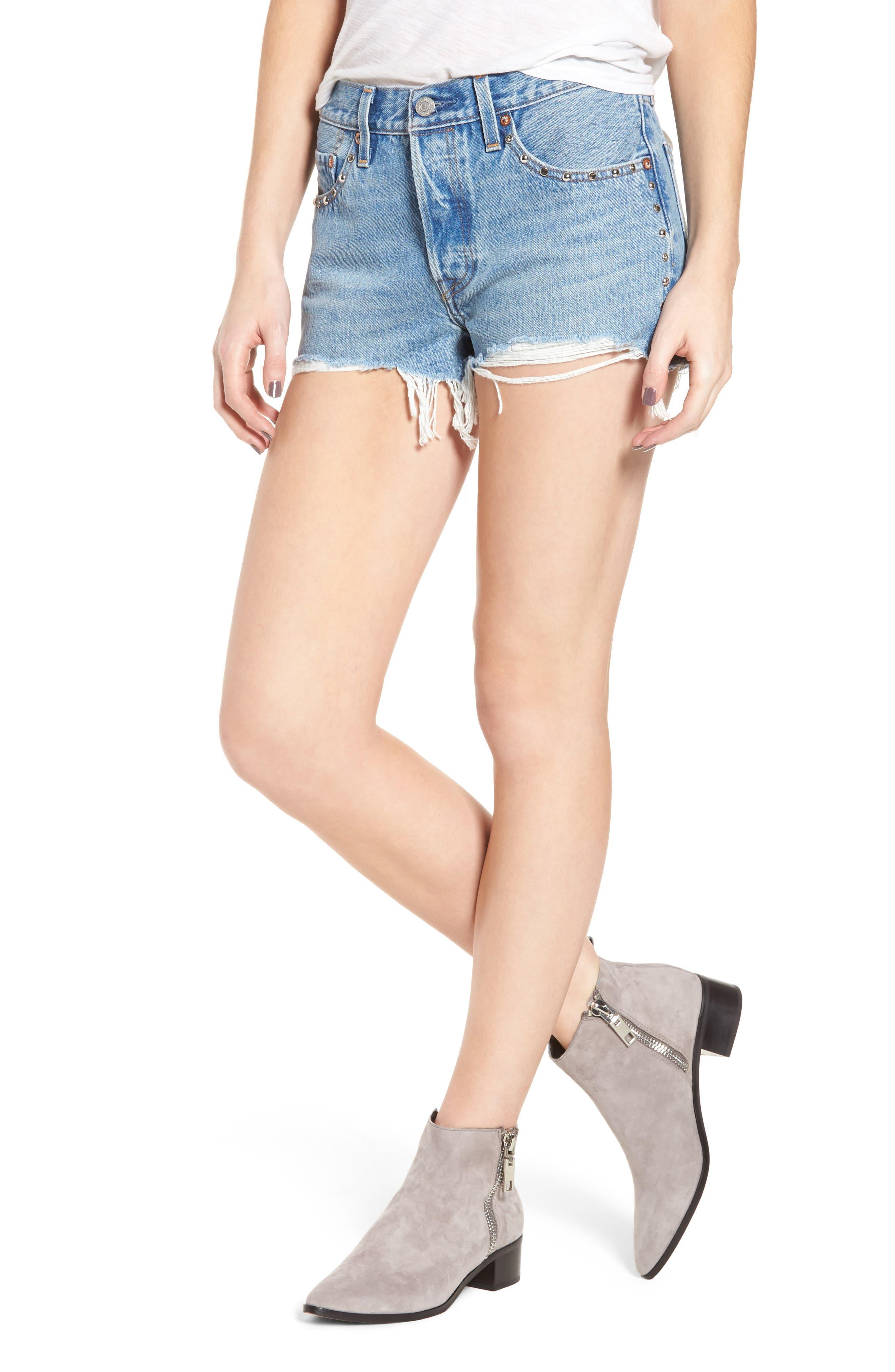 501<sup>®</sup> Distressed Cutoff Denim Shorts,                         Main,                         color, Hotline Bling