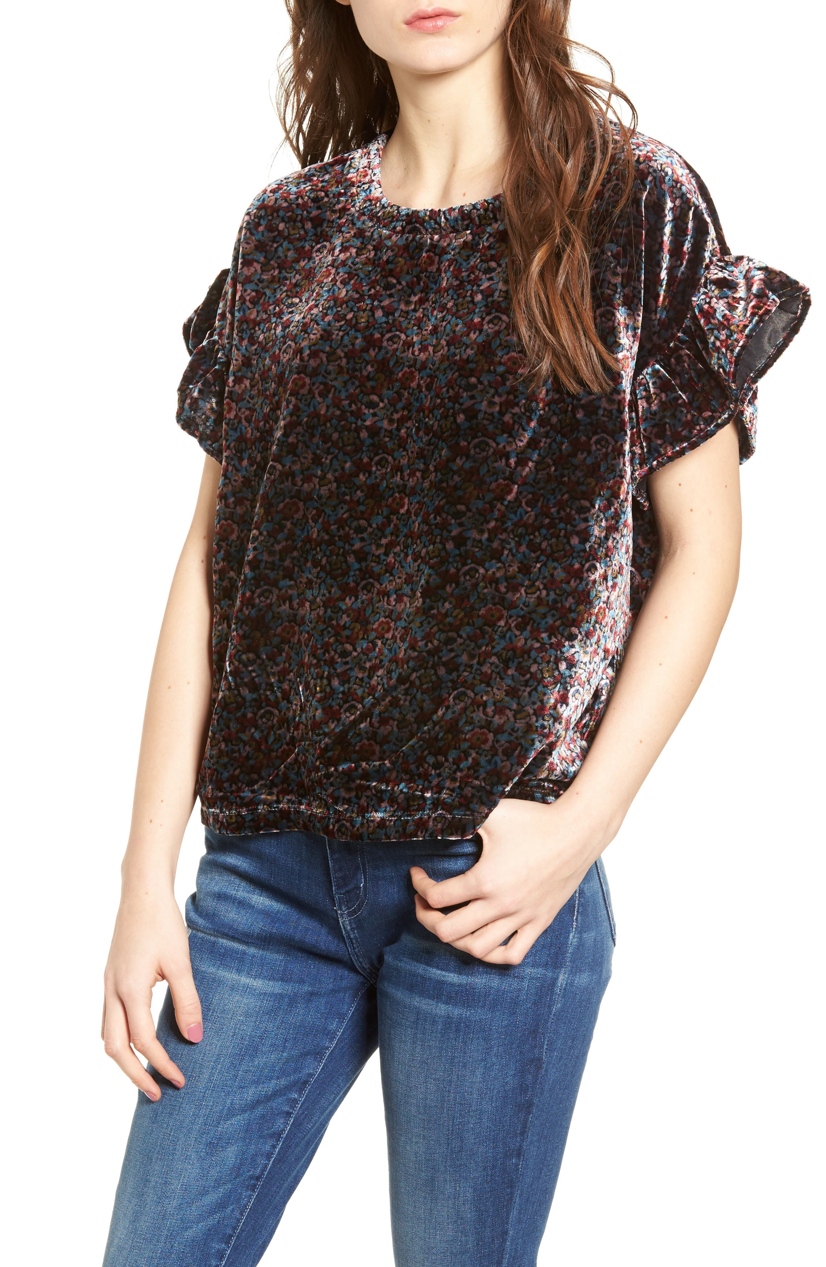 The Janie Velvet Top,                             Main thumbnail 1, color,                             Floral Velvet